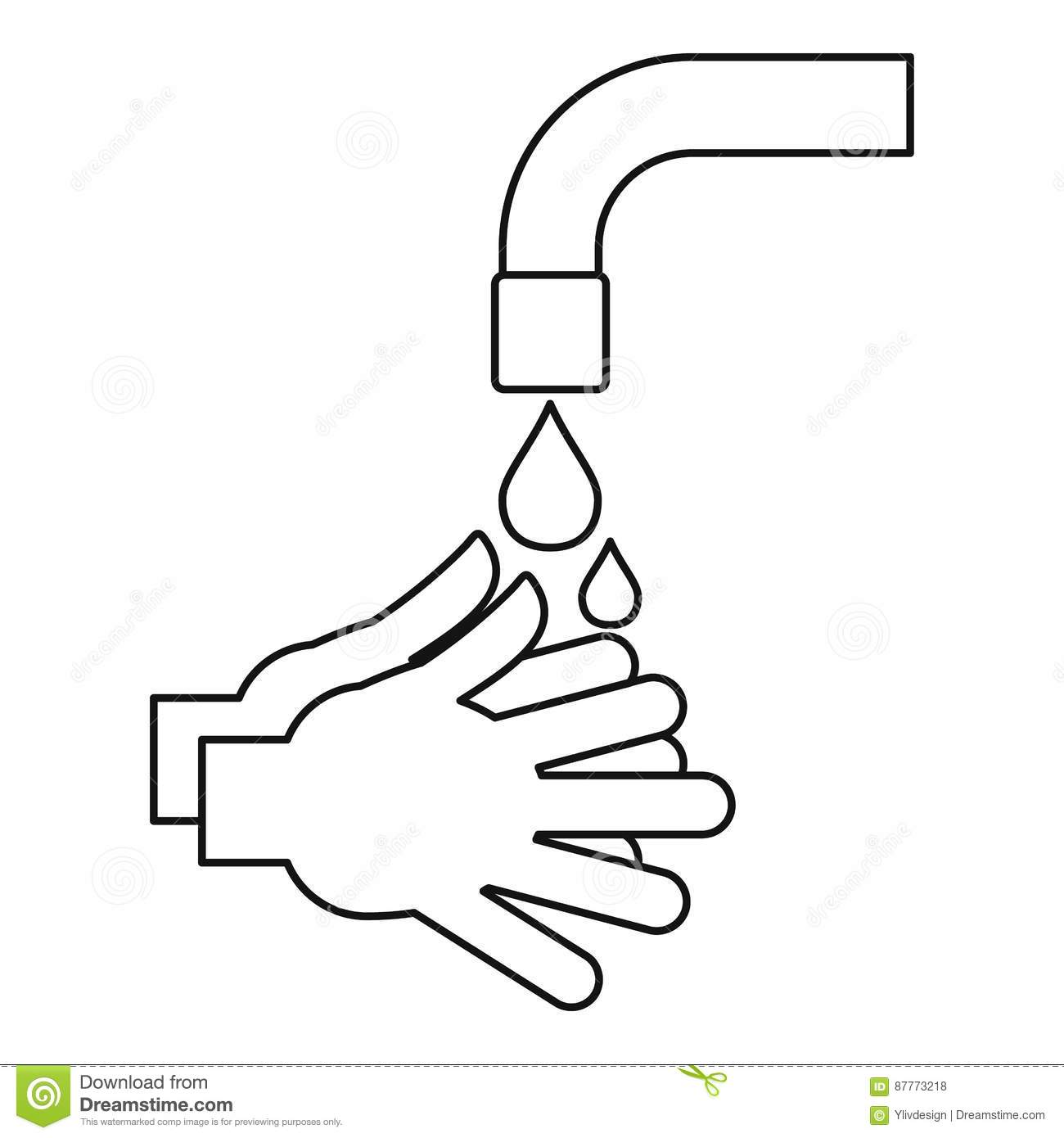 Washing Hands Icon Outline Style Stock Vector