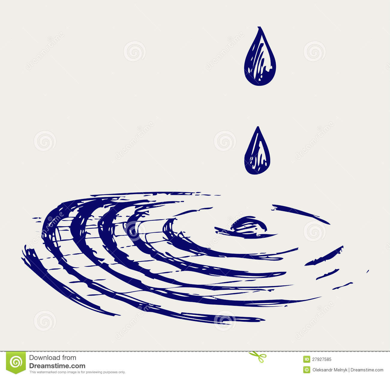 Water Drops Doodle Style Stock Vector Illustration Of