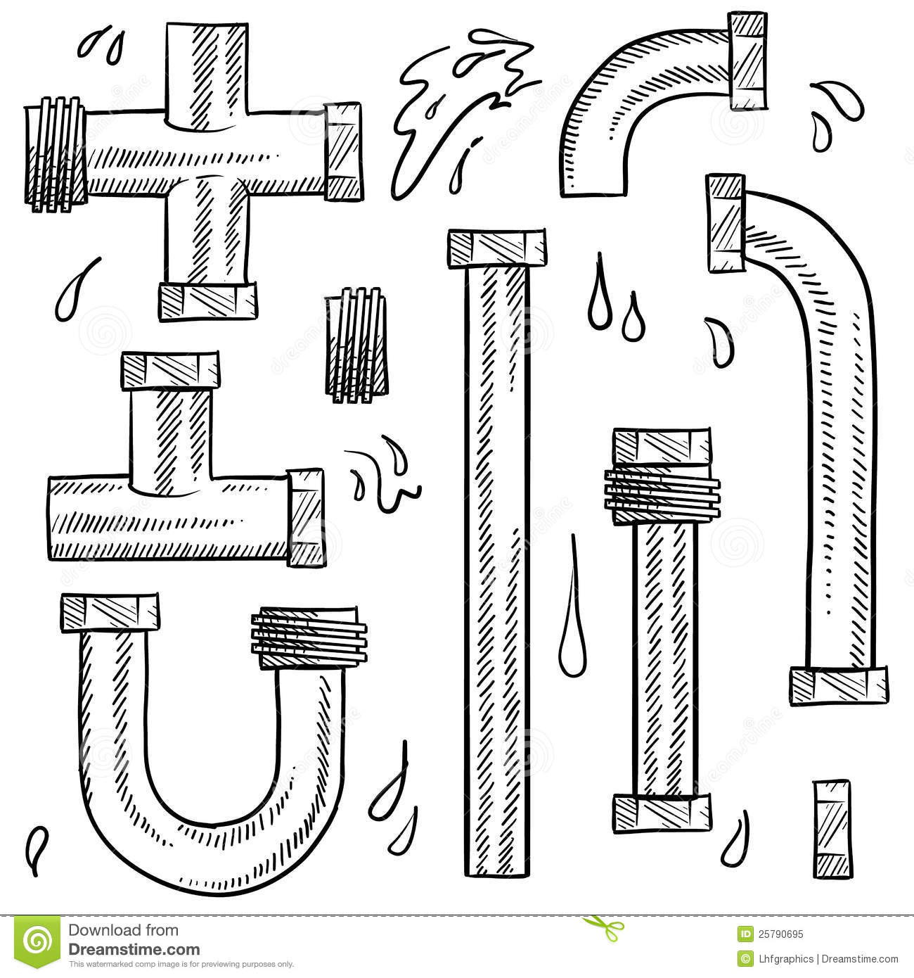 Water Pipes Sketch Cartoon Vector