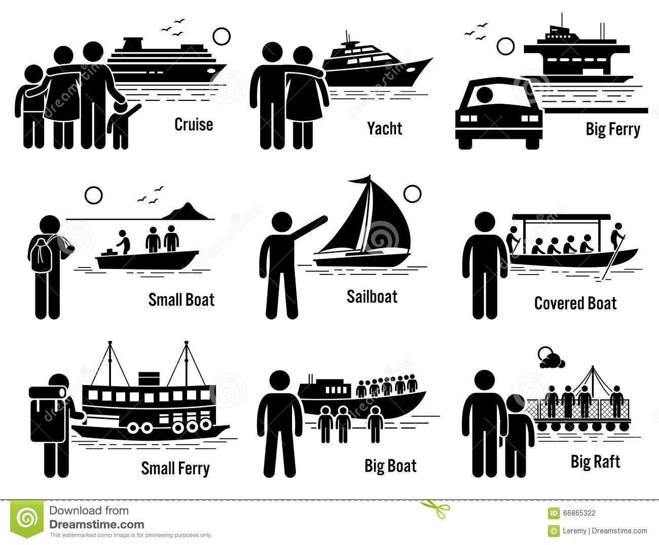 Water Sea Transportation Vehicles And People Set Clipart