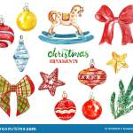 Watercolor Vintage Christmas Tree Decorations And Ornaments Hand Painted Glass Balls Ribbons Stars Rocking Horse Isolated Stock Illustration Illustration Of Glass Holiday 152338344
