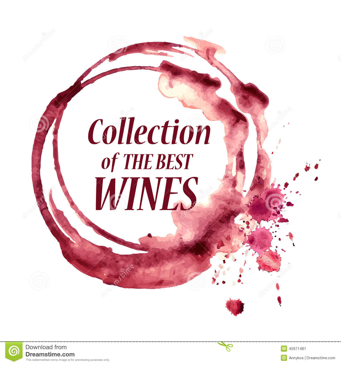 Watercolor Emblem With Wine Stain Stock Vector Image