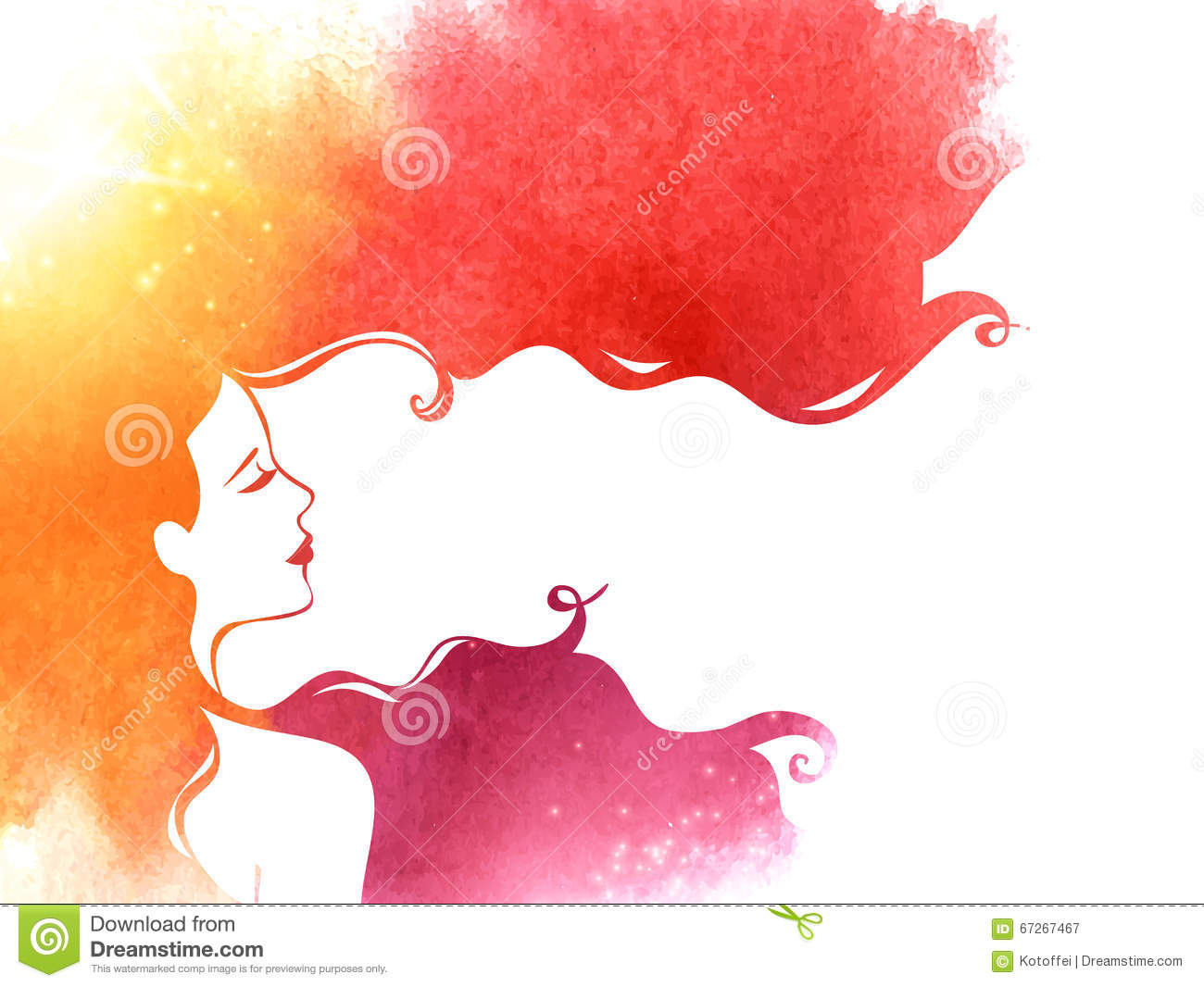 Watercolor Fashion Woman With Long Hair Stock Vector