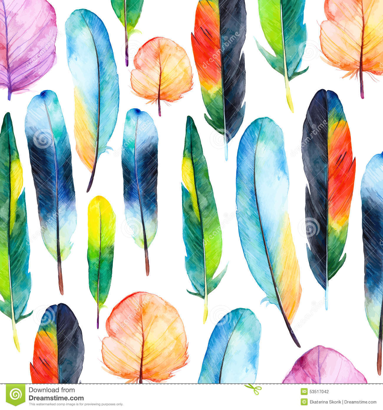 Watercolor Feathers Set Hand Drawn Vector Illustration