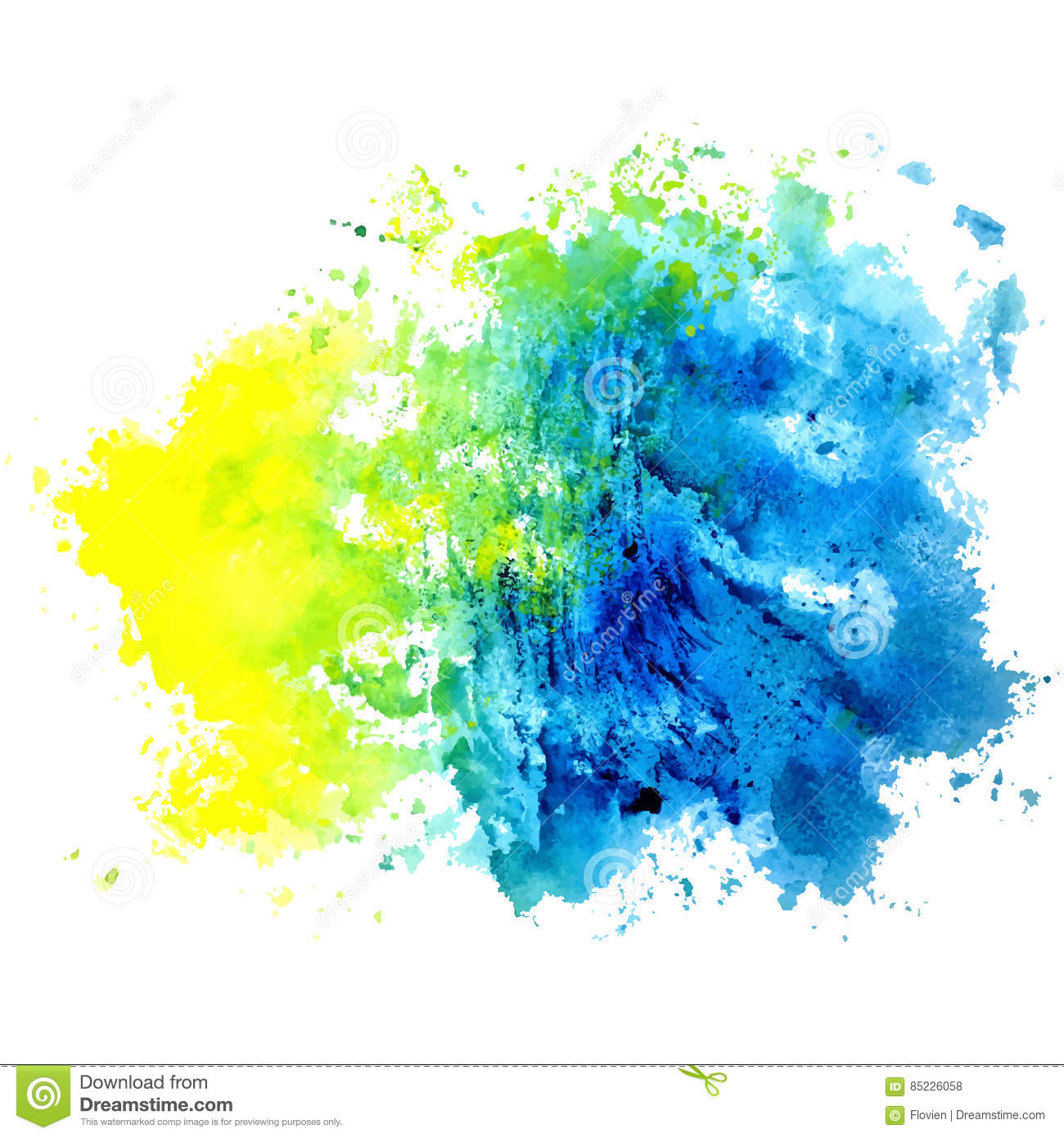 Watercolor Isolated Spot On A White Background Blue