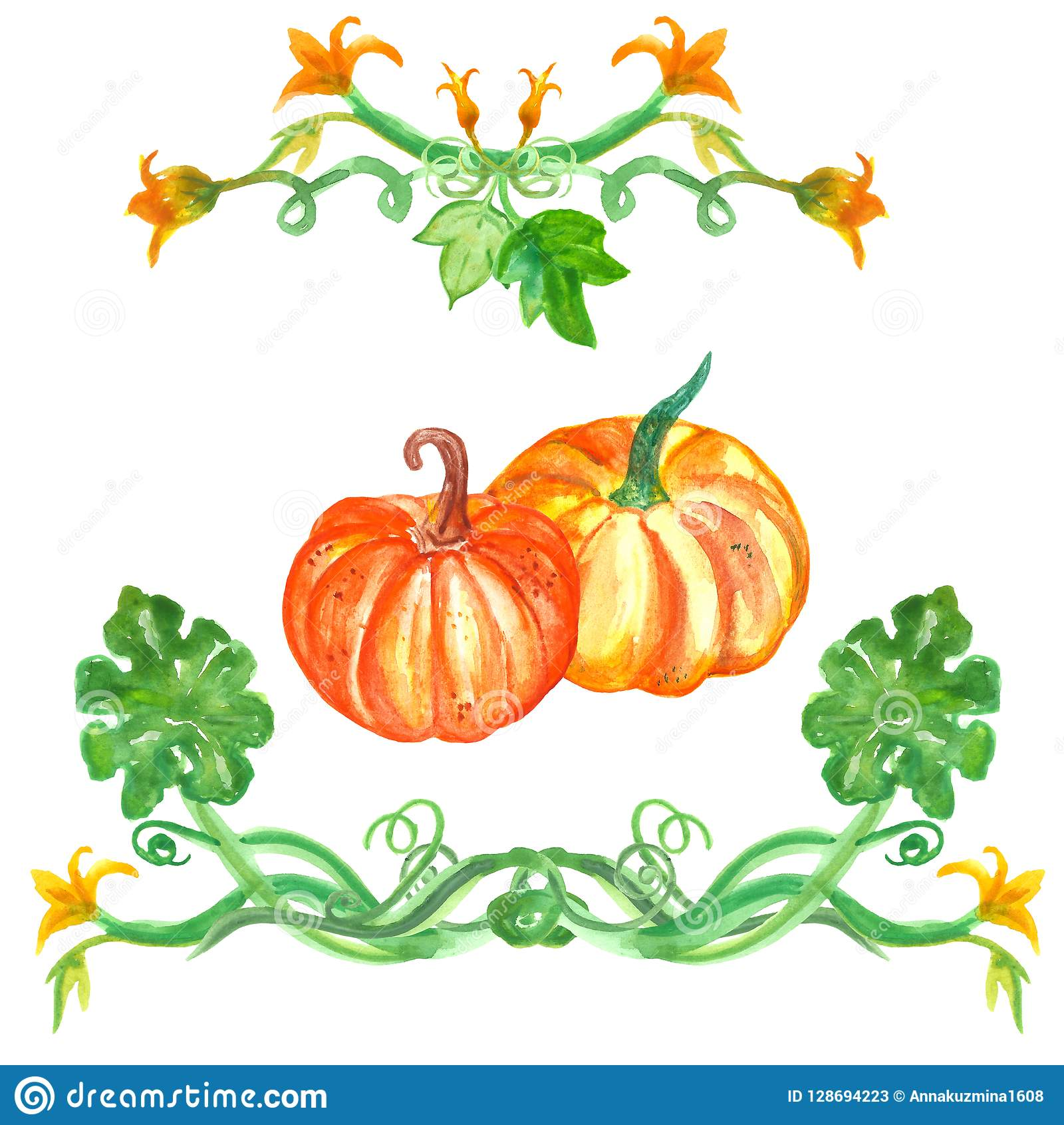 Watercolor Pumpkin Set With Leaves Autumn Hand Drawn