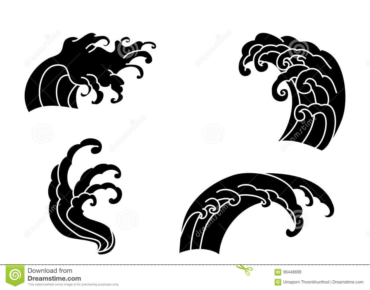 Wave Tattoo Design Isolate Vector Stock Vector
