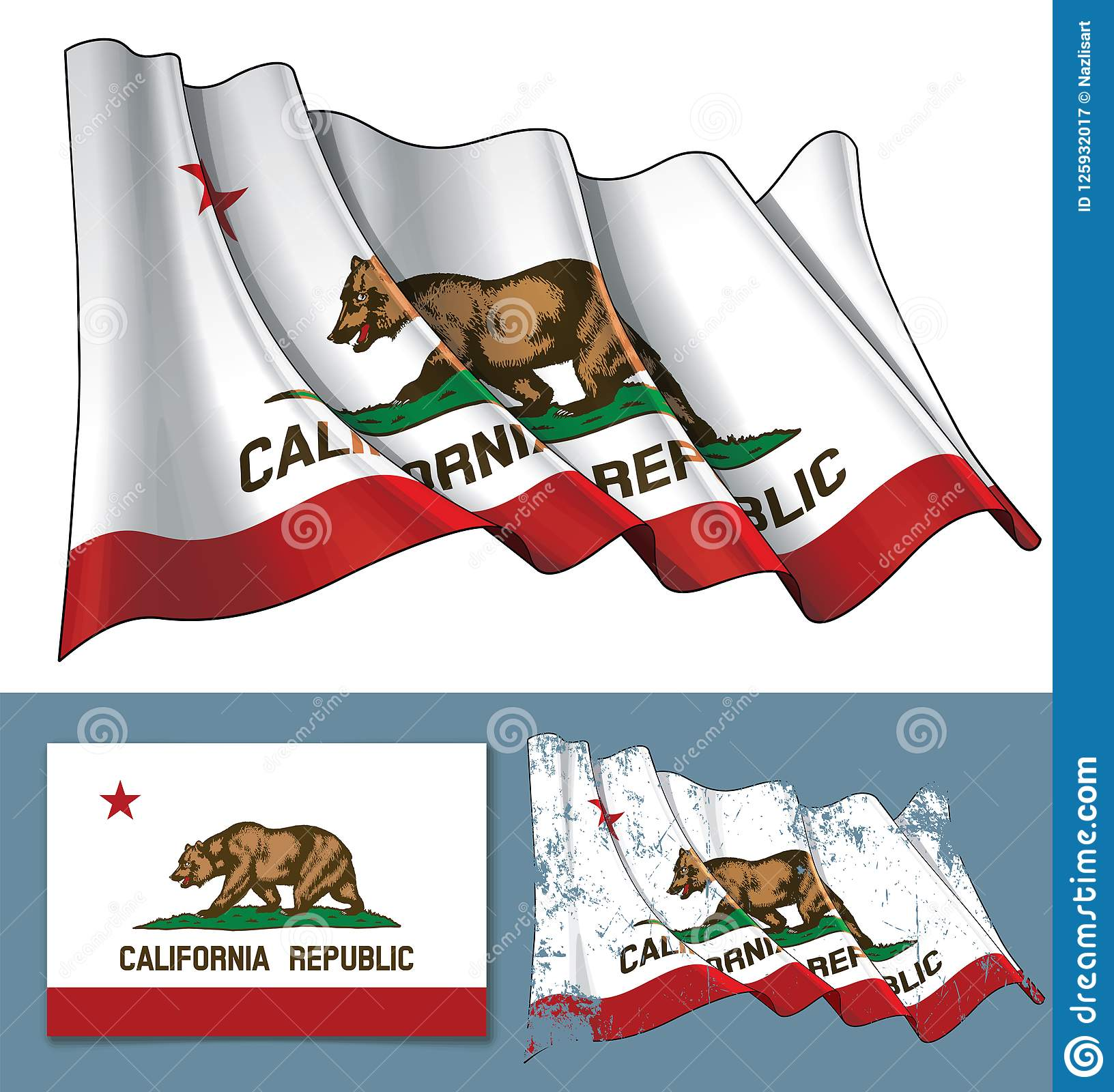 Waving Flag Of The State Of California Stock Vector