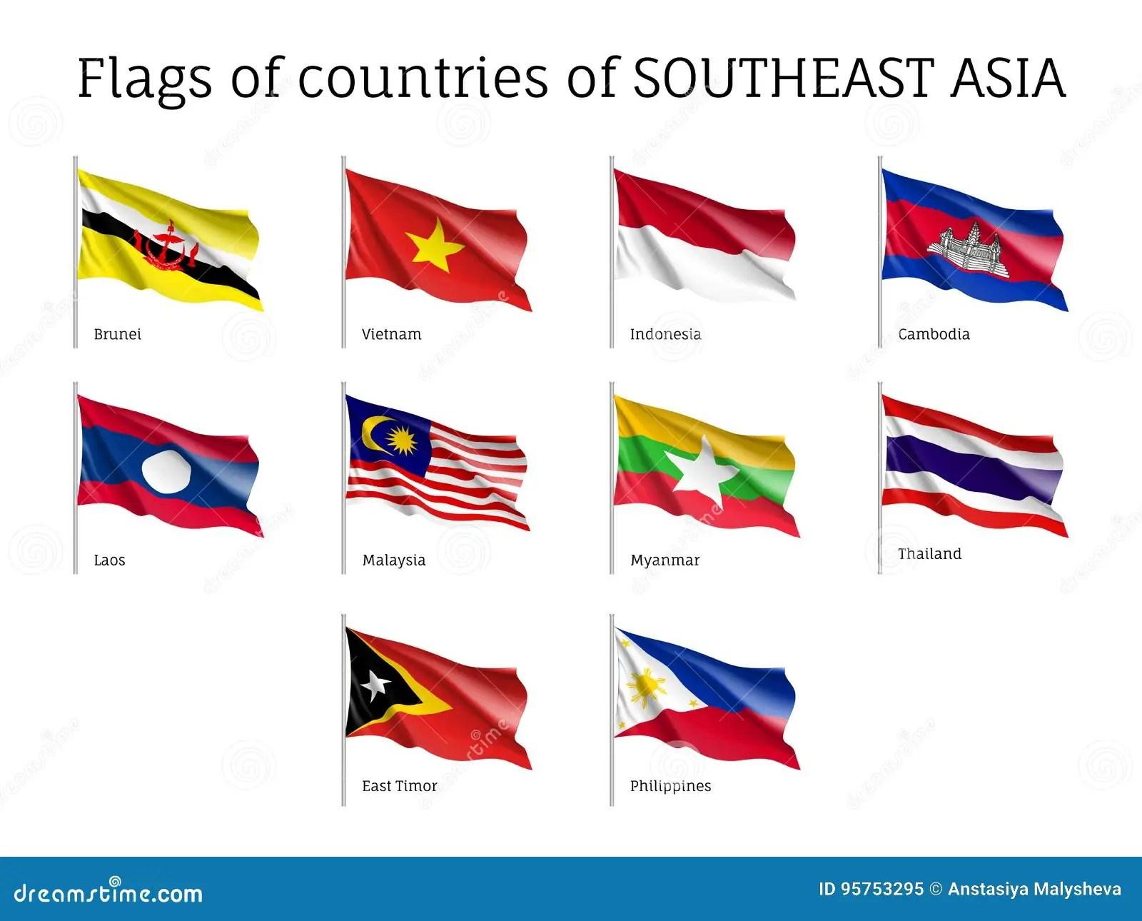 Waving Flags Of Aec Members Stock Vector