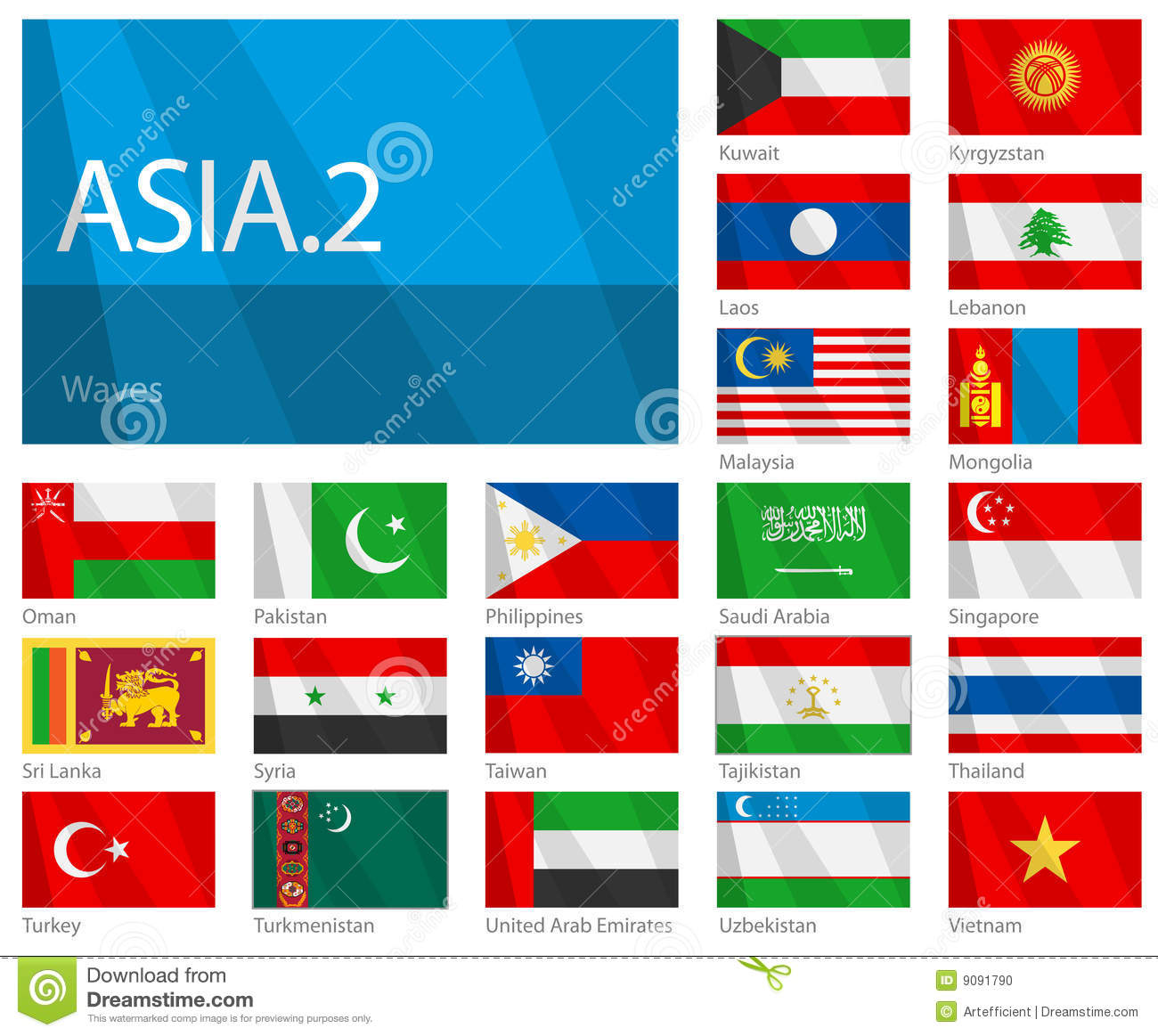 Waving Flags Of Asian Countries