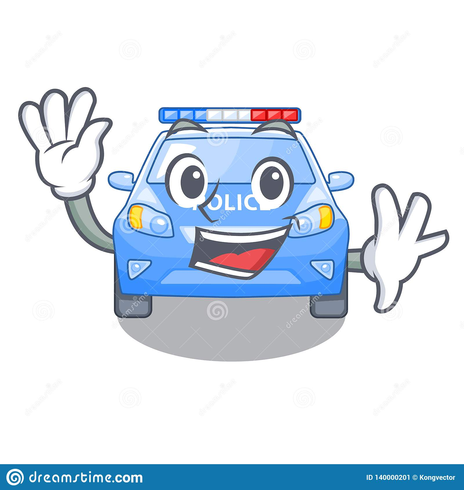 Waving Police Car In The Shape Character Stock Vector
