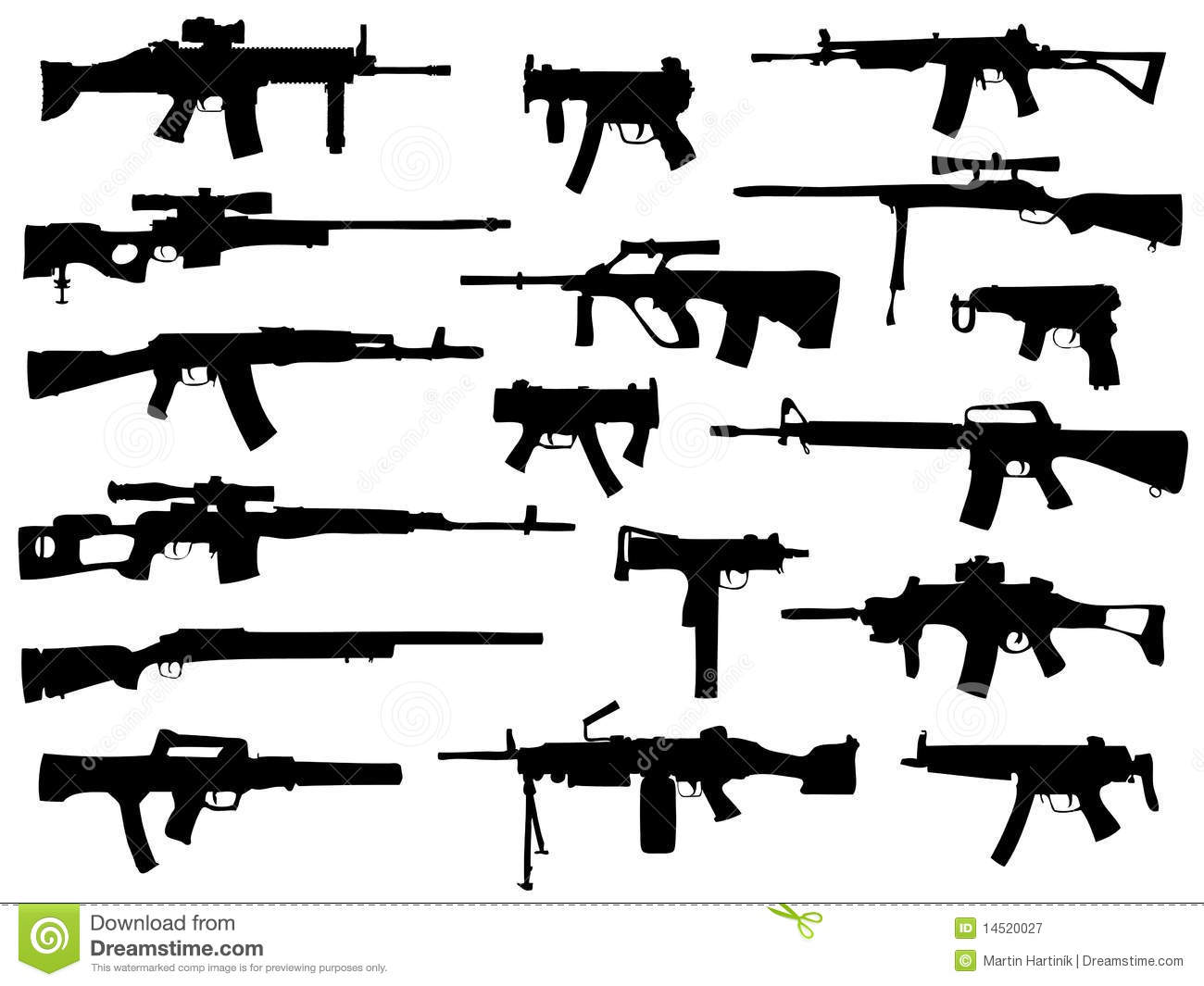 Weapon Collection Automatic Guns Stock Vector