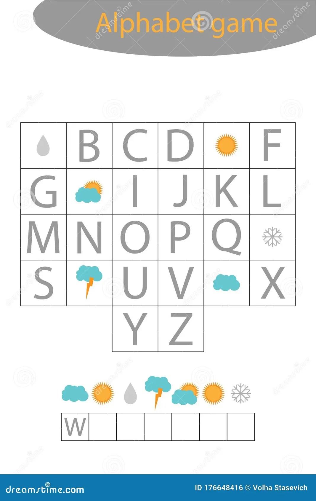 Weather Alphabet Game For Children Make A Word Preschool