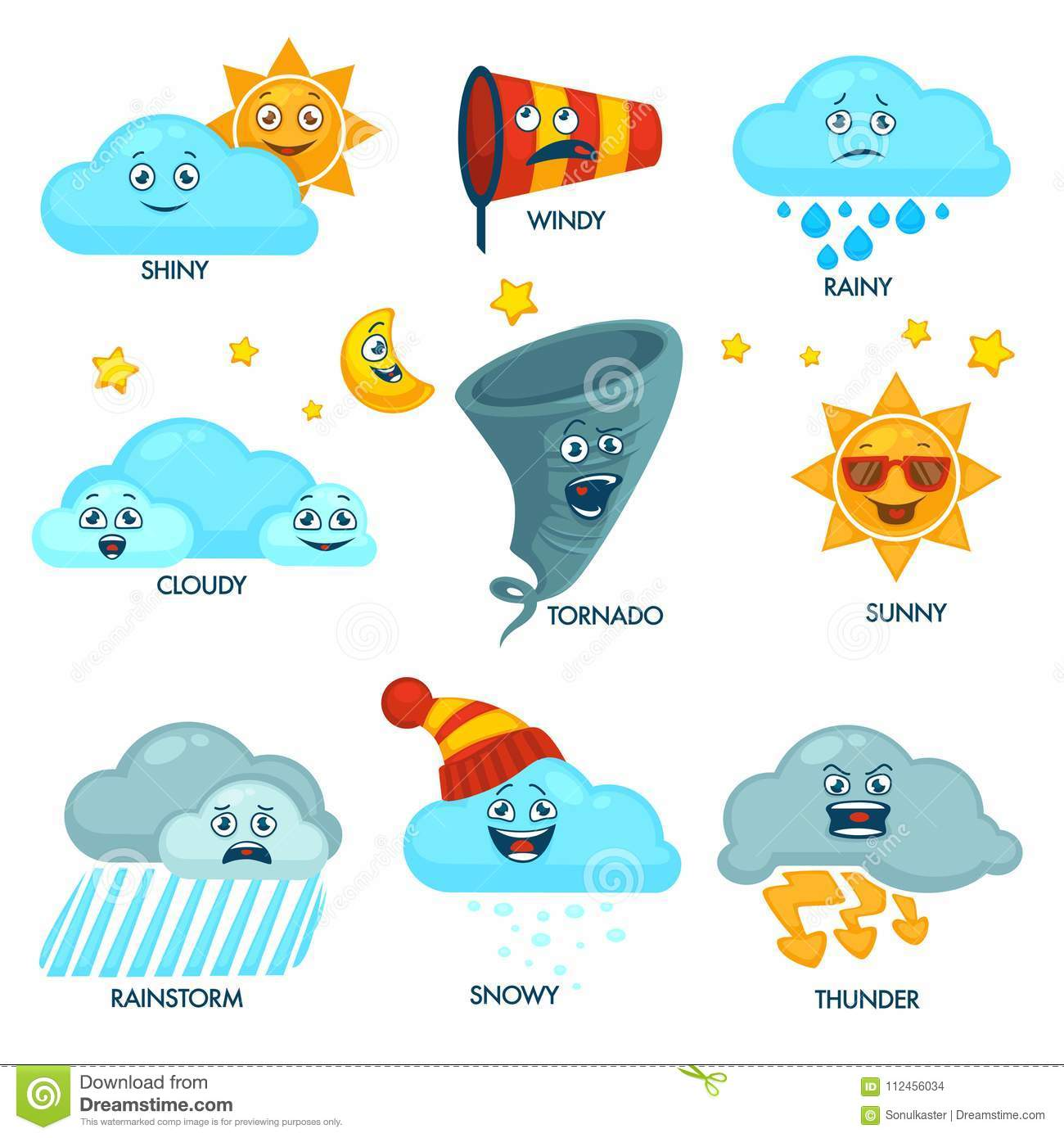 Weather Forecast Elements With Faces And Signs Set Stock