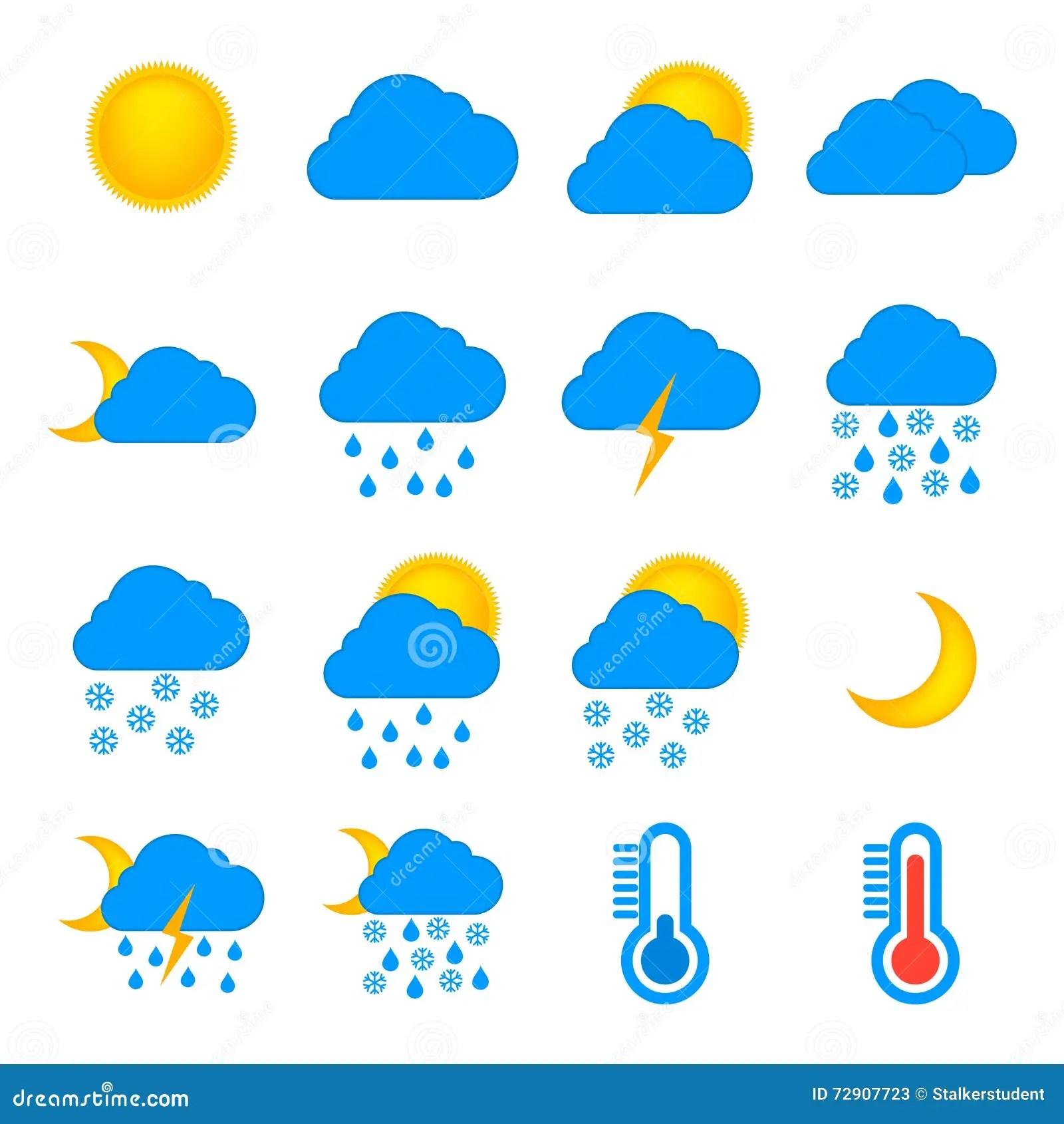Weather Forecast And Meteorology Symbols Icons Flat Set
