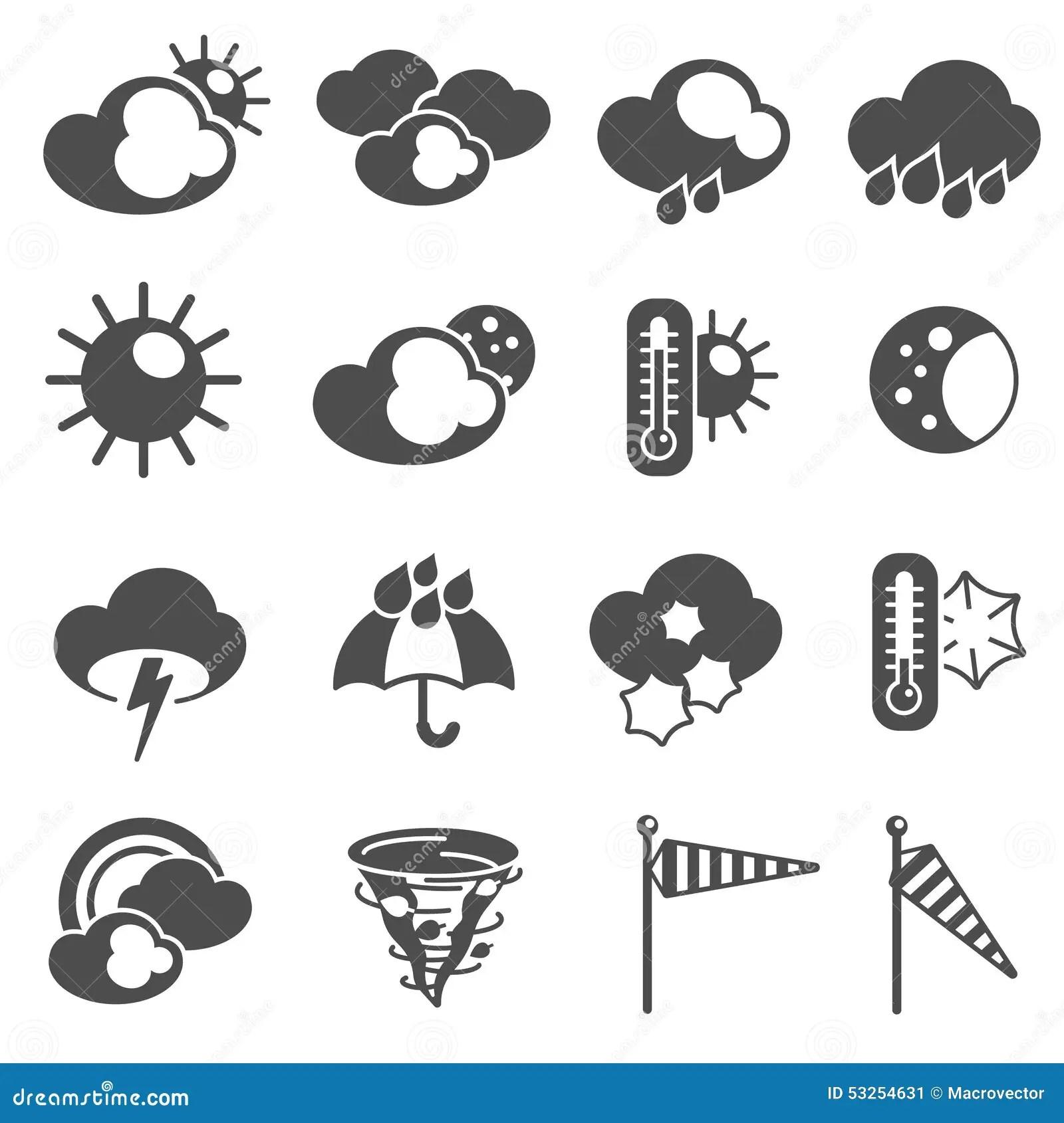 Weather Forecast Symbols Icons Set Black Stock Vector