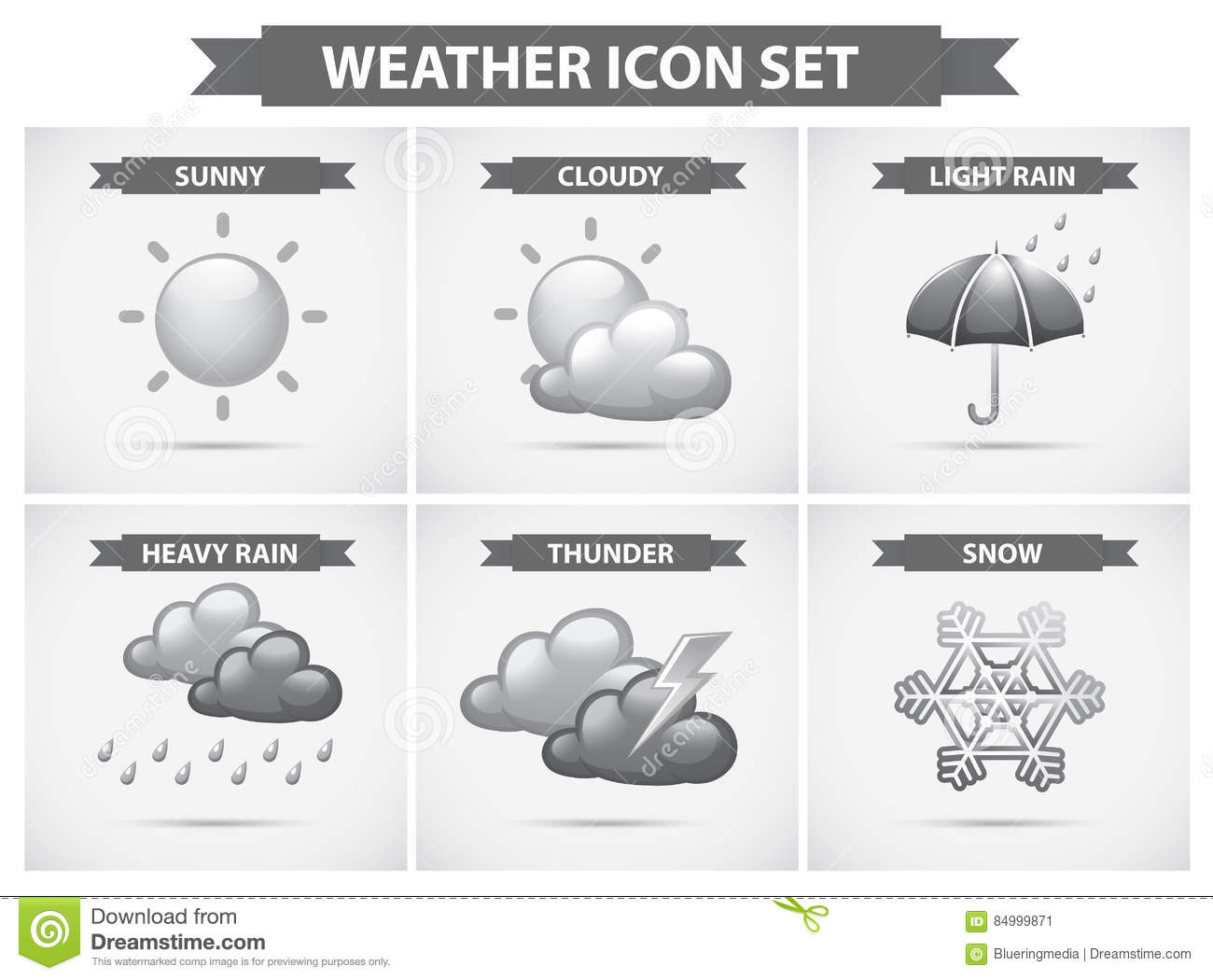 Weather Icon With Different Types Of Weathers Stock Vector