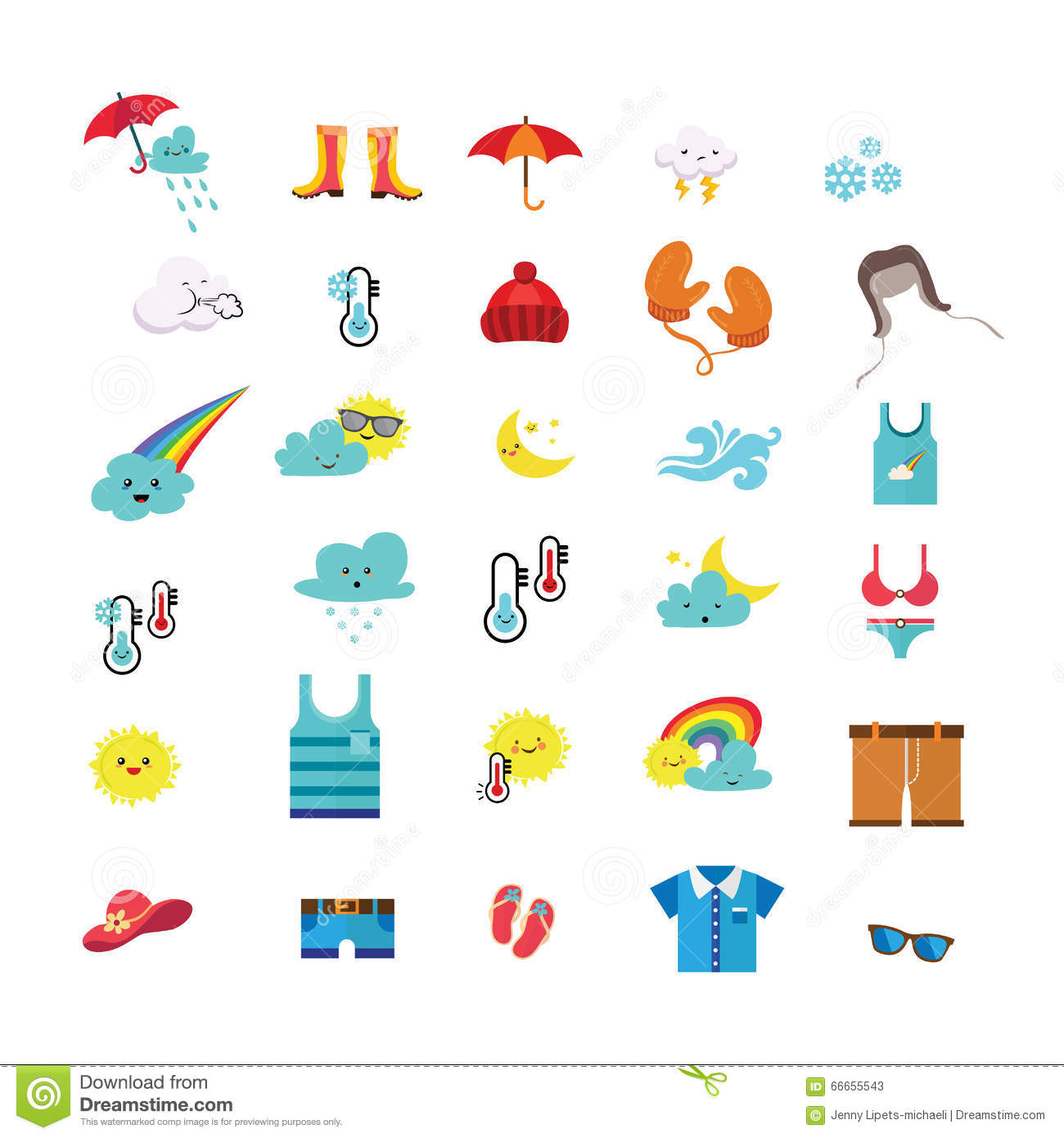Weather Icons And Seasonal Clothes Stock Vector
