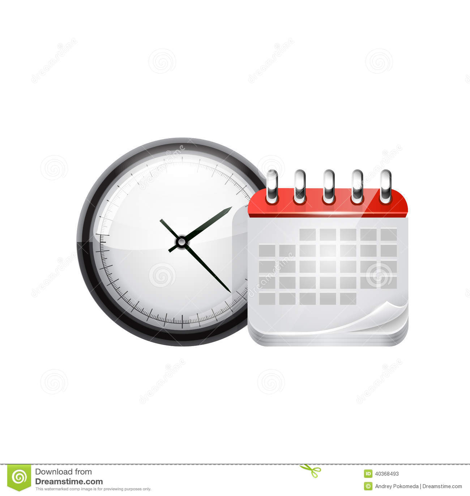 Web Calendar And Clock Vector Stock Illustration