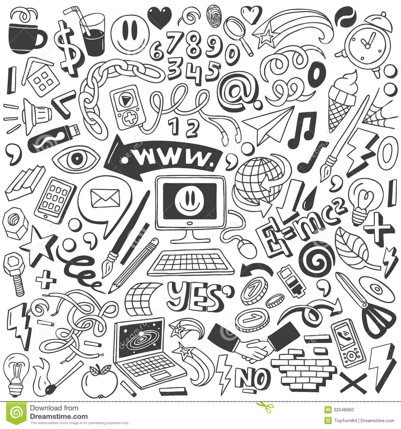 Web Doodles Collection Stock Vector Illustration Of Chain
