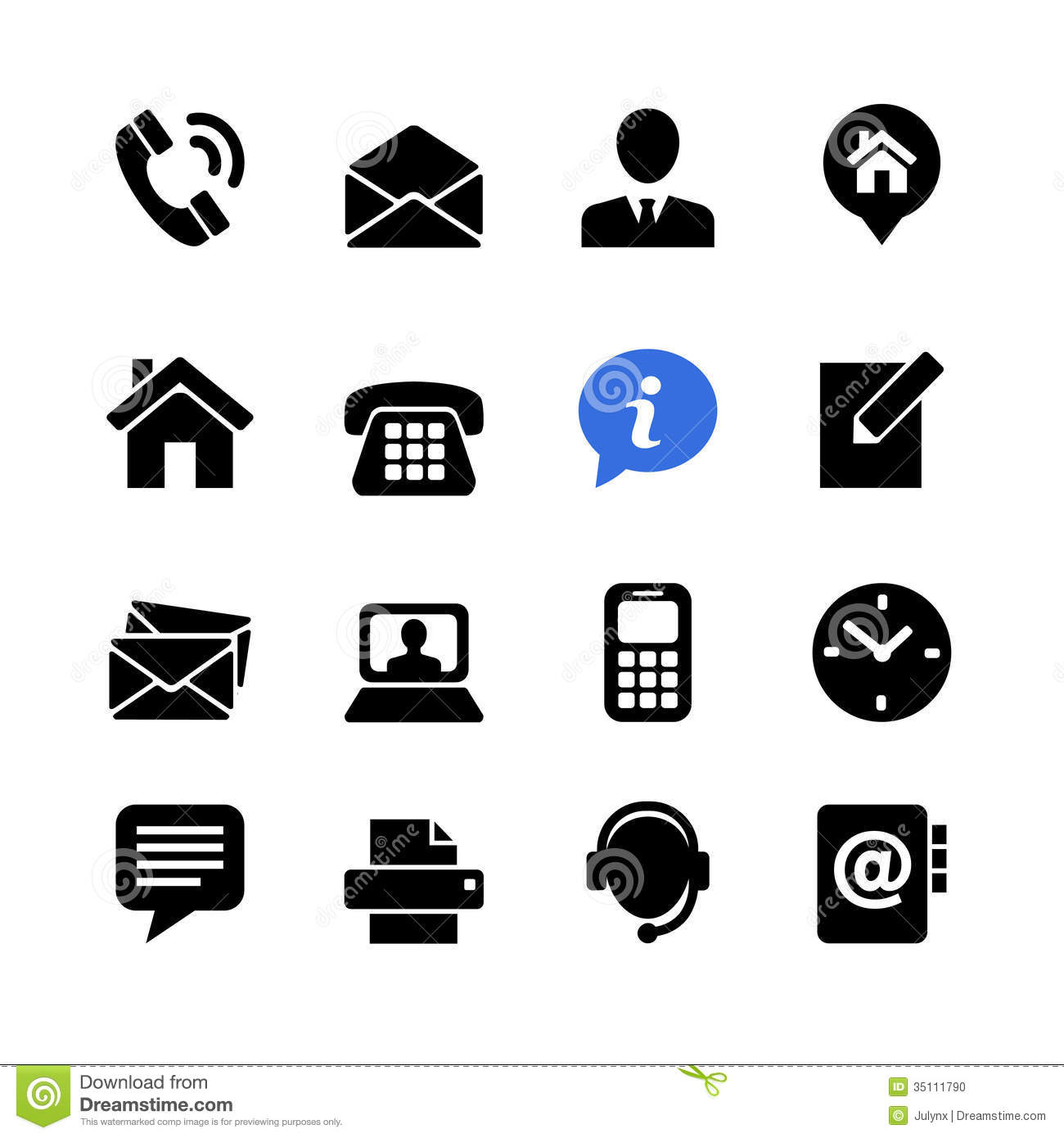 Web Icon Set Contact Us Stock Vector Image Of Internet
