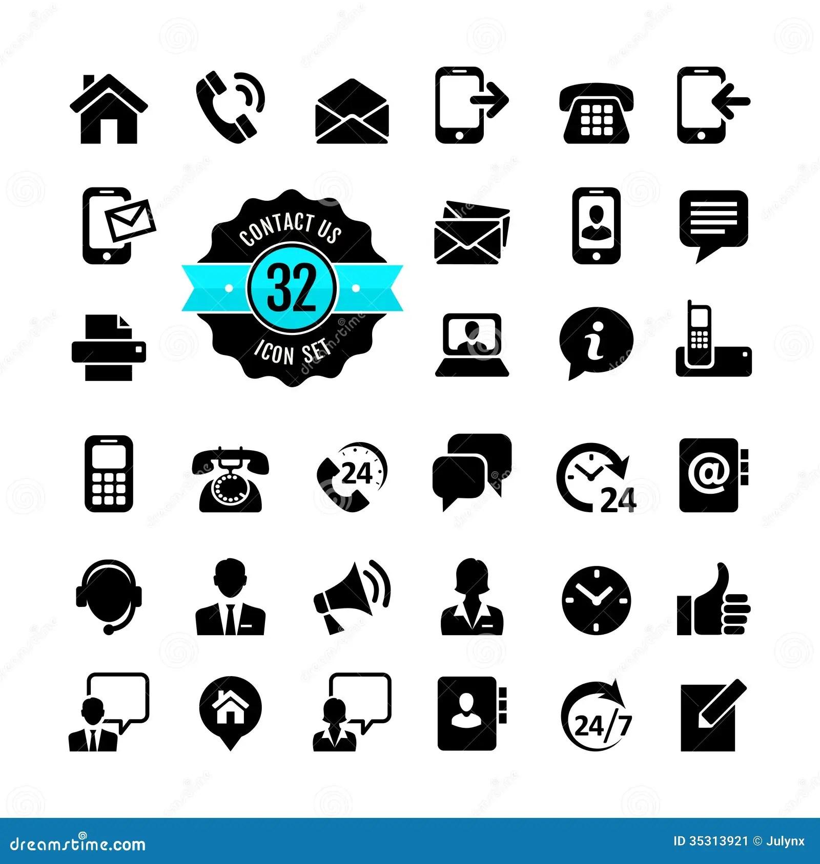 Web Icon Set Contact Us Stock Image
