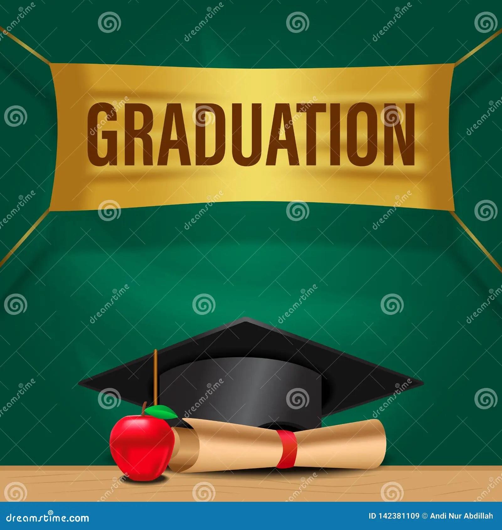 https www dreamstime com web luxury graduation party invitation card hat paper apple green board graduate school collage celebration event image142381109
