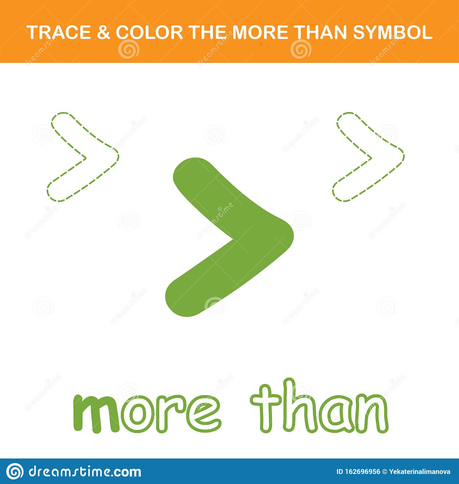 Trace Amp Color The More Than Symbol Worksheet Stock Vector