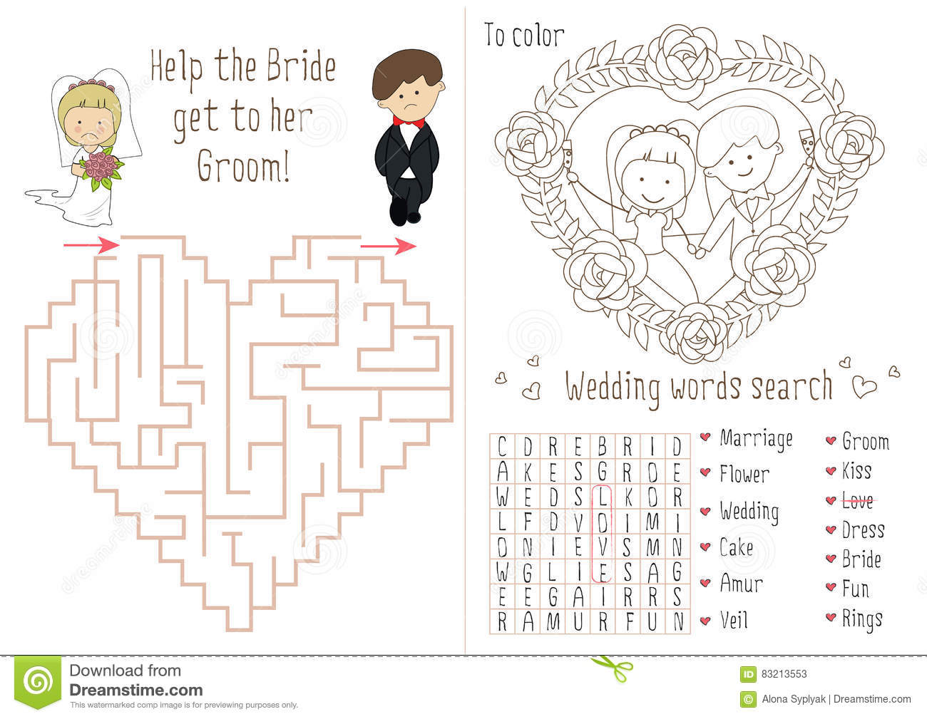 Groom And Bride Coloring Pages