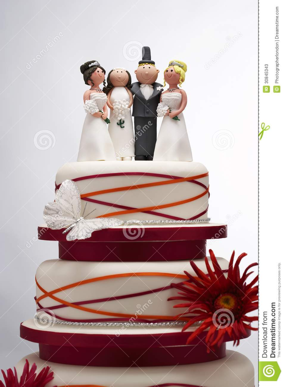 Wedding Cake With Funny Figurines Stock Image Image