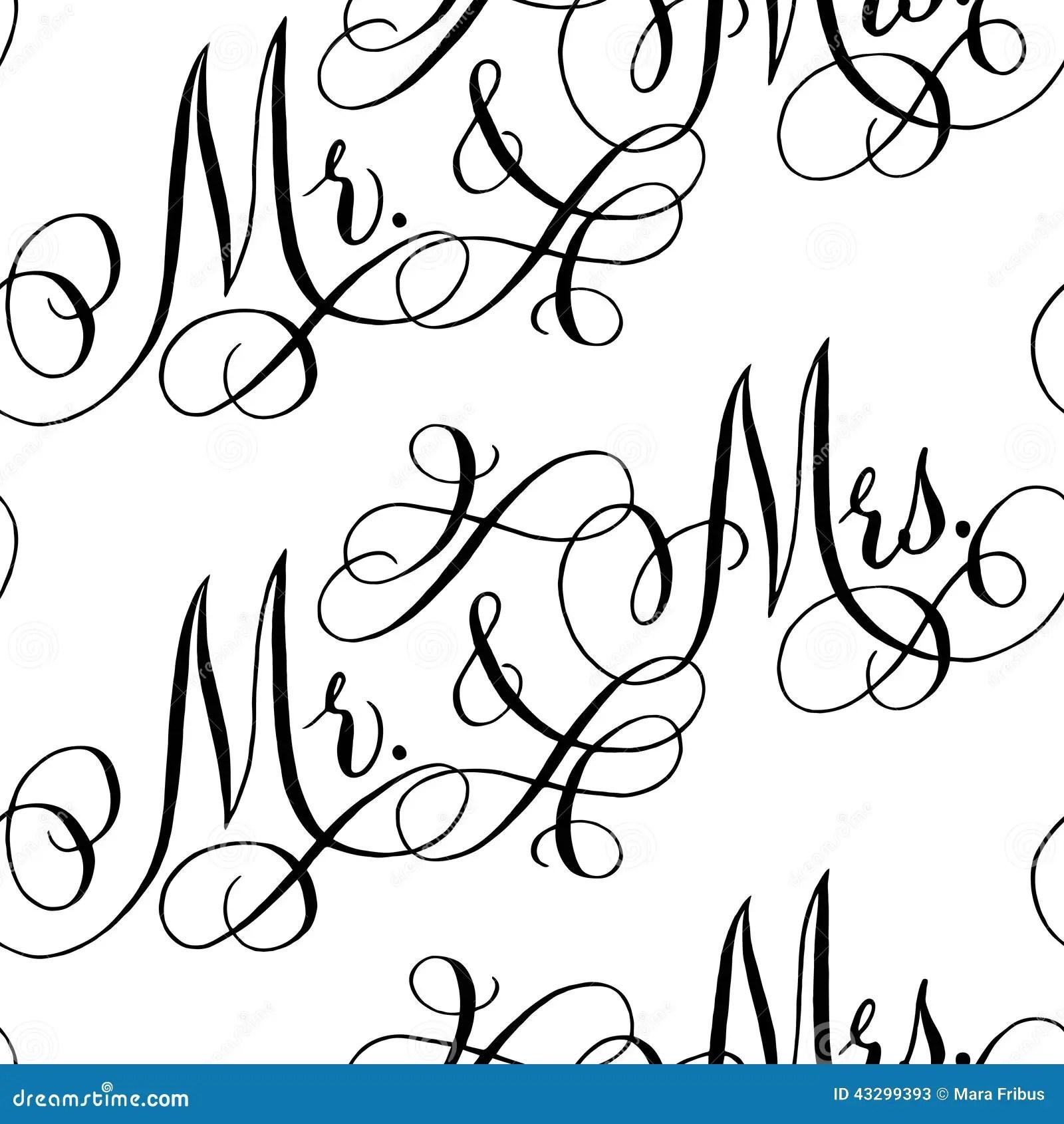 Wedding Calligraphy Seamless Pattern Stock Vector