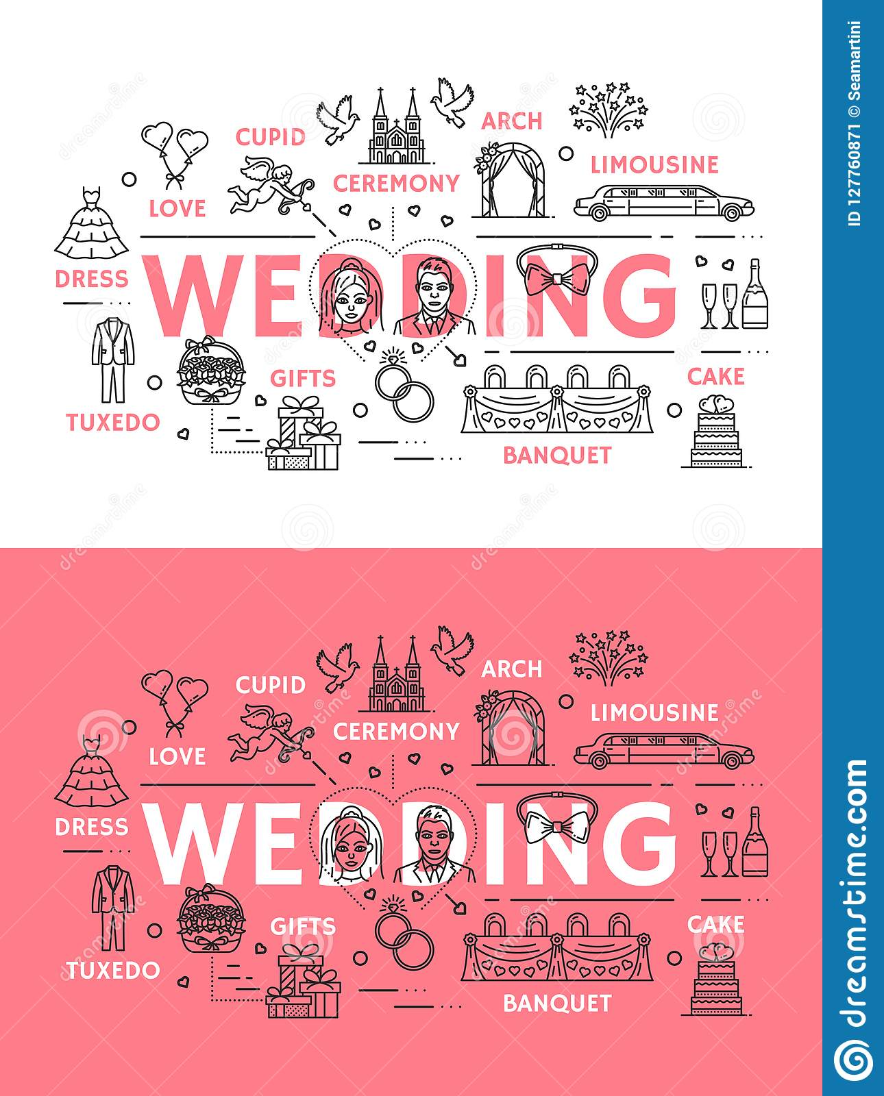 Wedding Ceremony Line Art Poster Of Outline Icons Stock