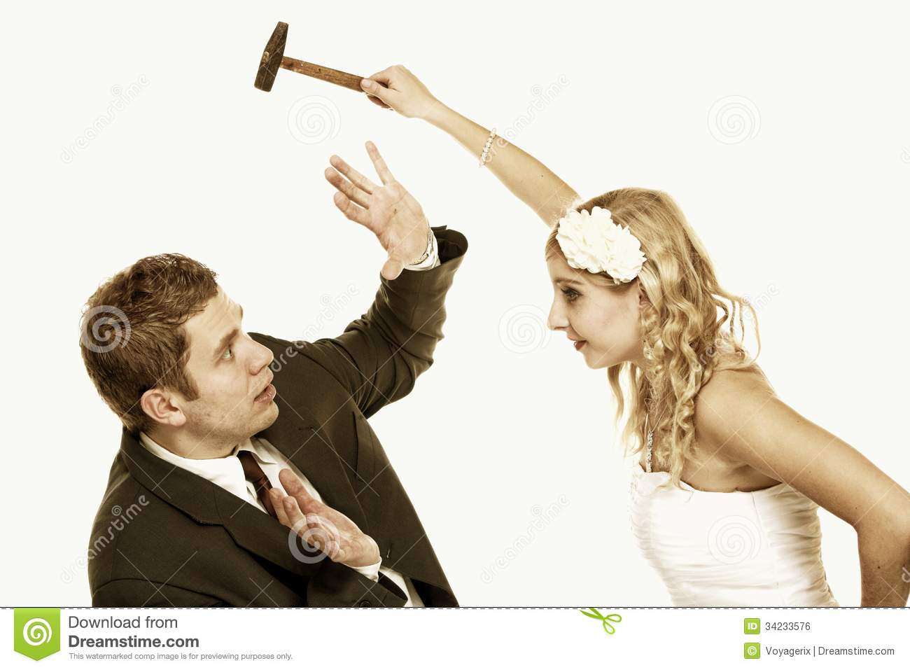 Wedding Couple In Fight Conflict Bad Relationships