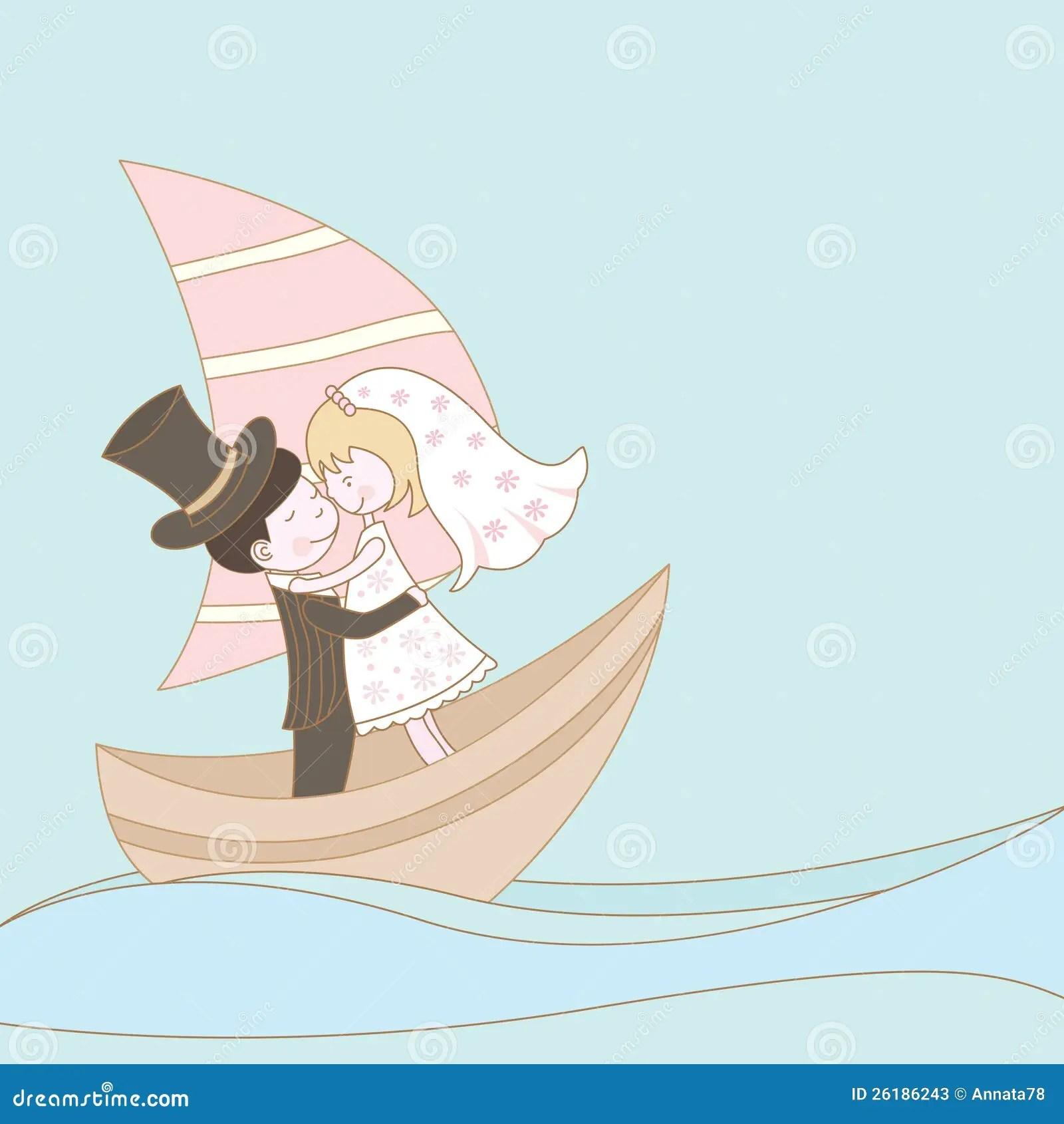 Wedding Couple On The Ship Stock Photos