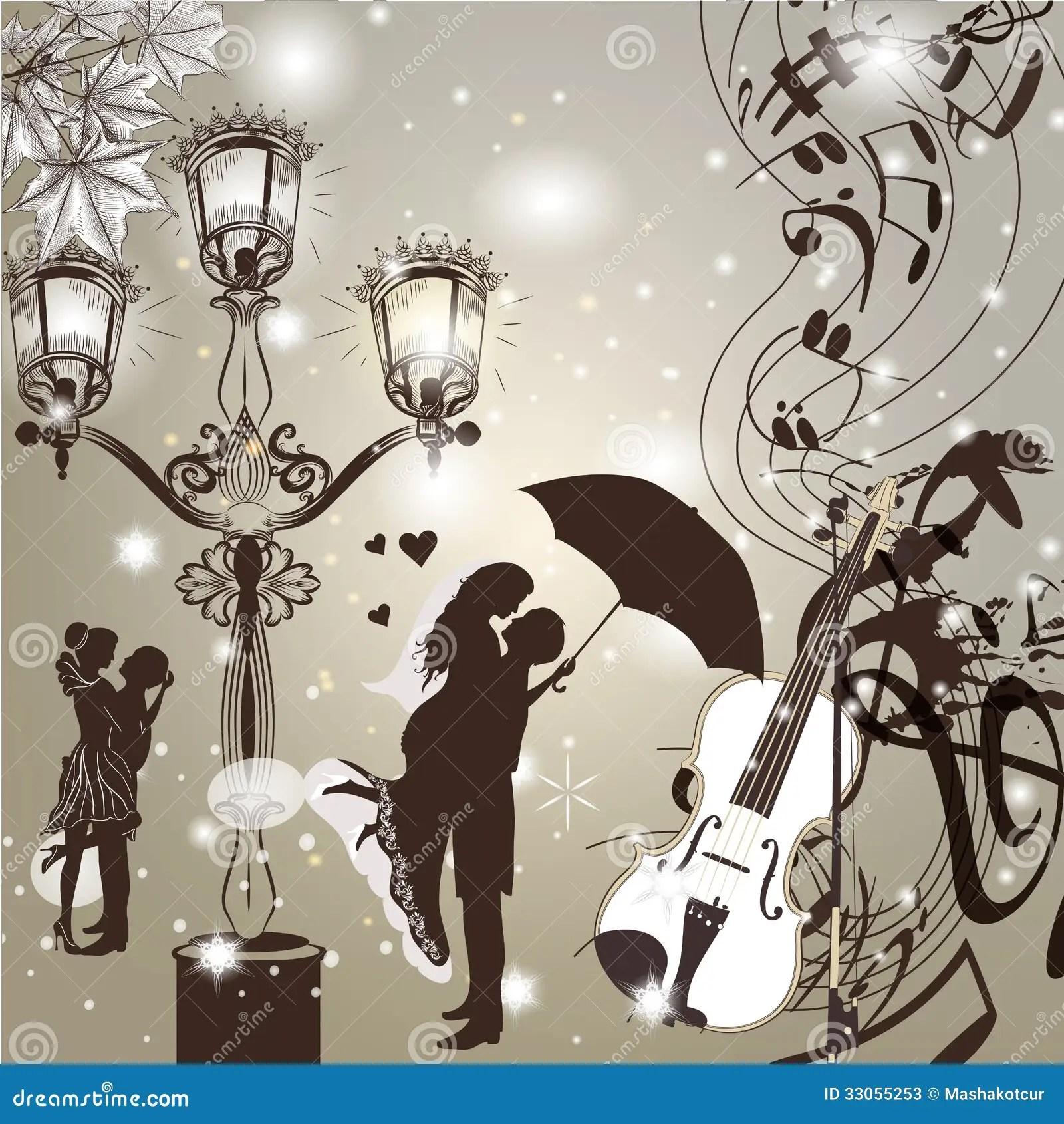 Wedding Elegant Background With Cute Couple Street Light