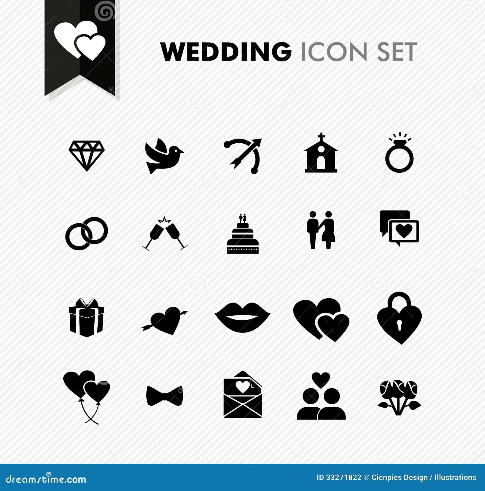 Wedding Fresh Icon Set Stock Photography