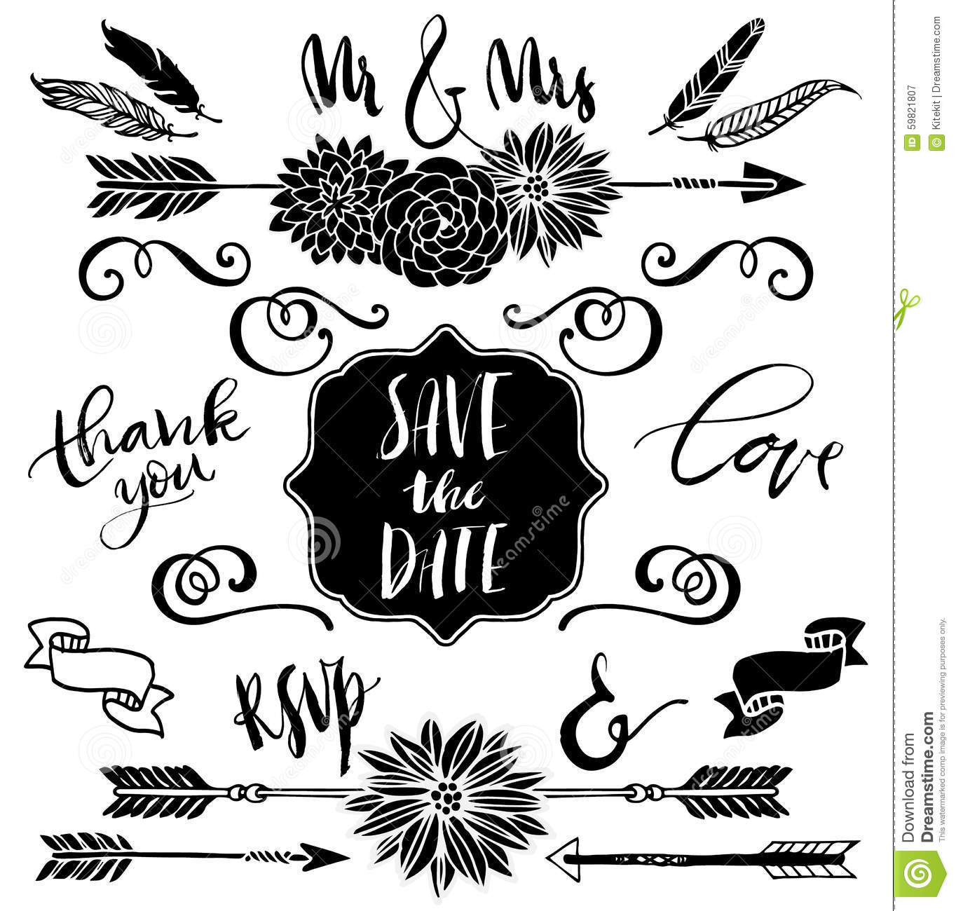 Wedding Graphic Set Arrows Flowers Curls Ribbons And