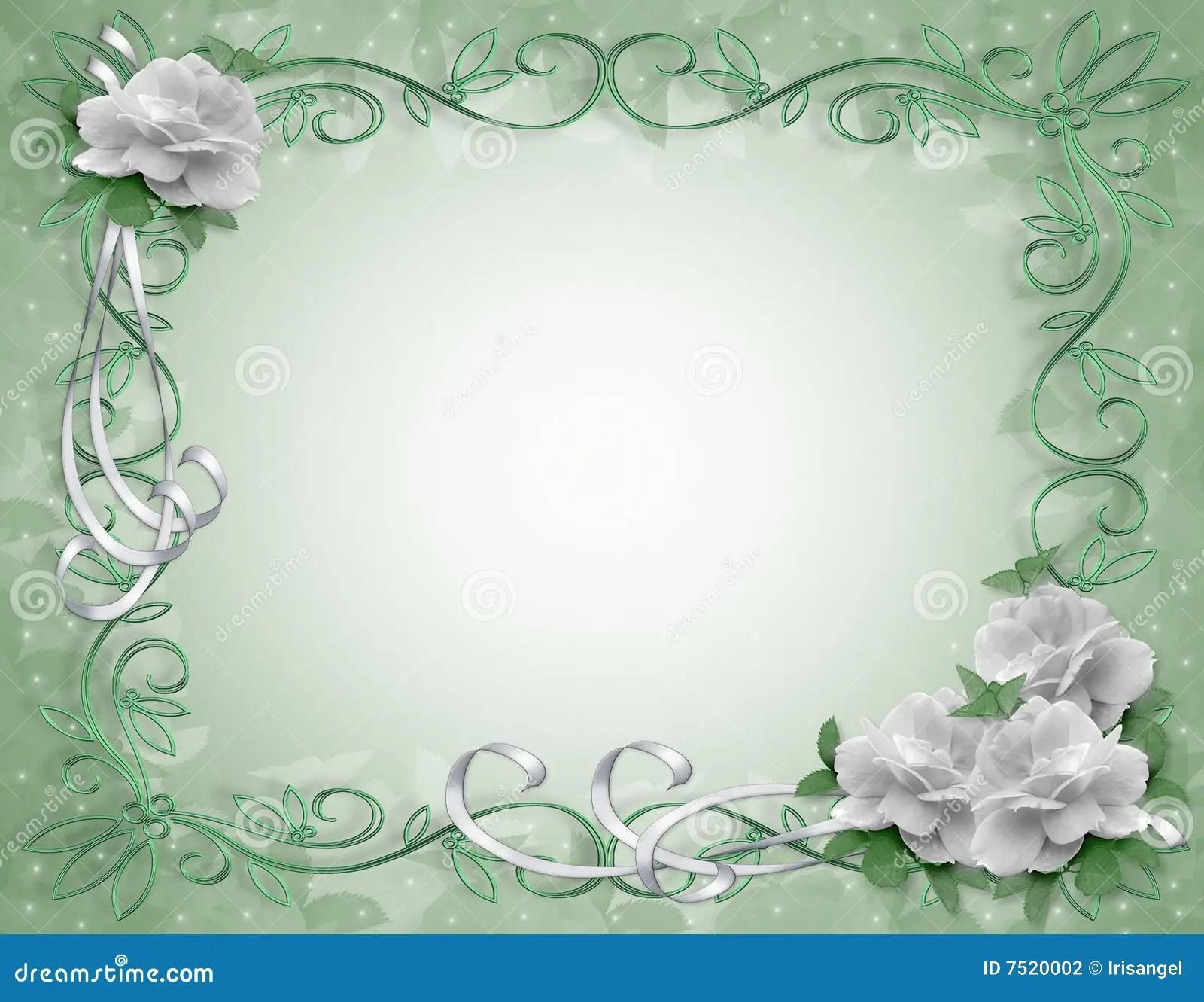 Wedding Invitation Border White Roses Stock Photography
