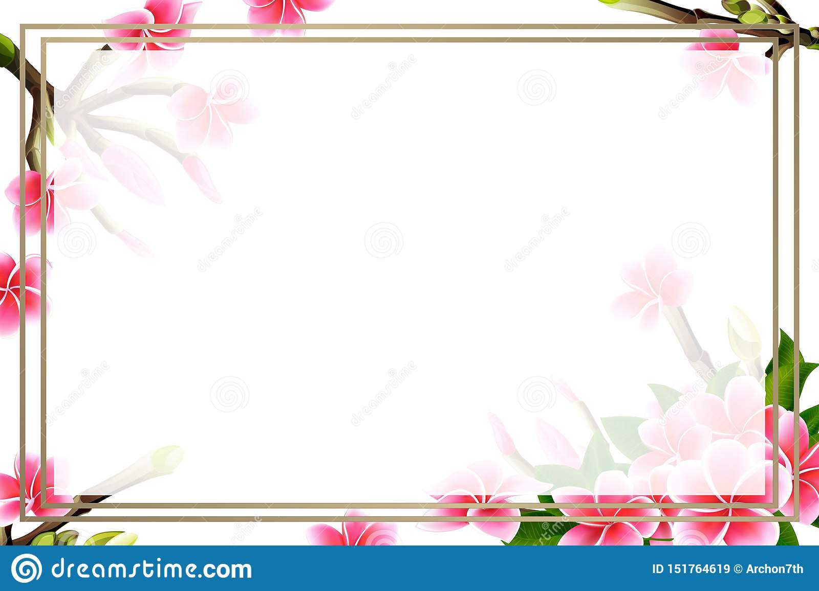 https www dreamstime com wedding invitation card floral pink plumeria horizontal blank frame bouquet tropical branches flowers vector template image151764619