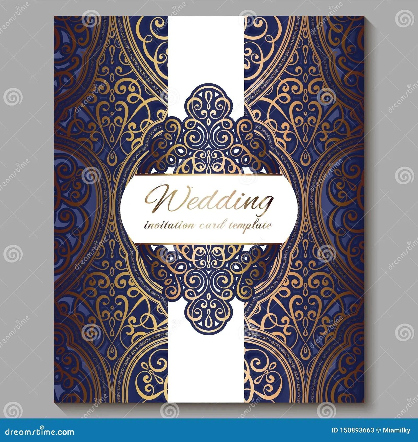 https www dreamstime com wedding invitation card gold shiny eastern baroque rich foliage royal blue ornate islamic background your design image150893663