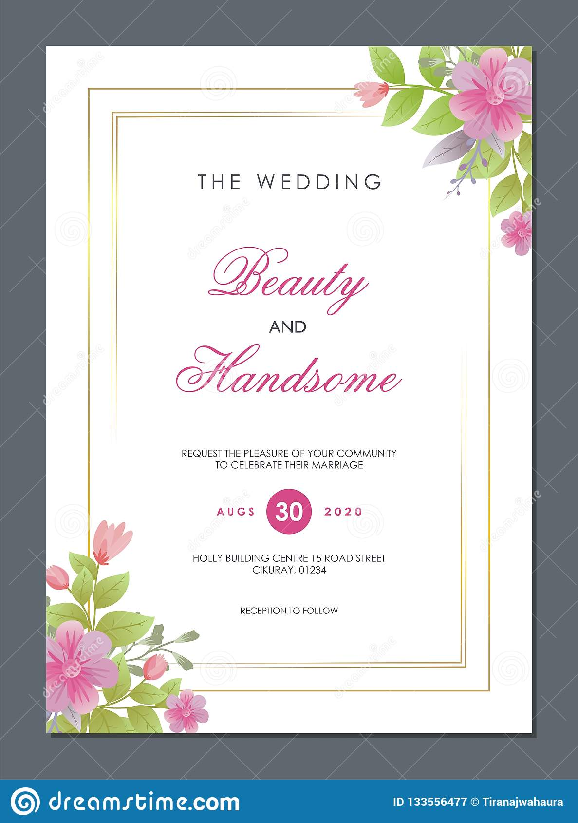https www dreamstime com wedding invitation card golden lineal guilloche floral ornaments bouquets trendy simple elegant interesting designs image133556477
