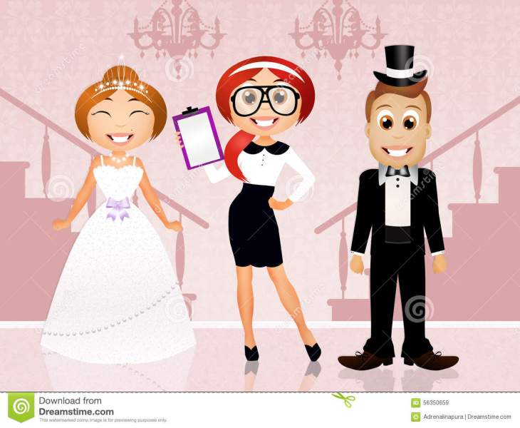 Wedding Planner With Bride And Groom Stock Illustration     Download comp