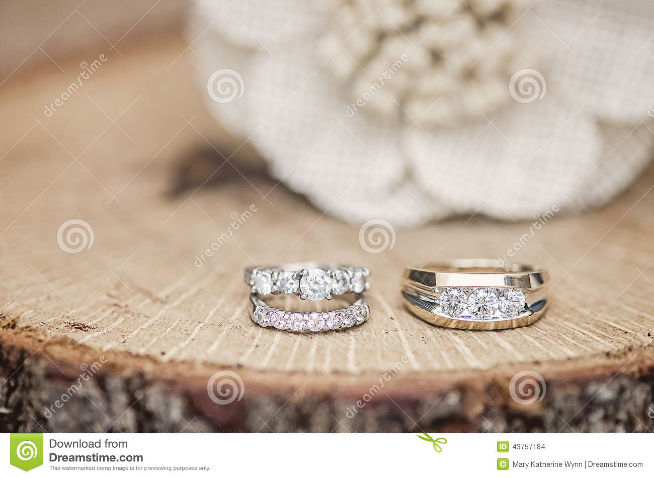 Wedding Rings Rustic Setting Stock Photo Image 43757184