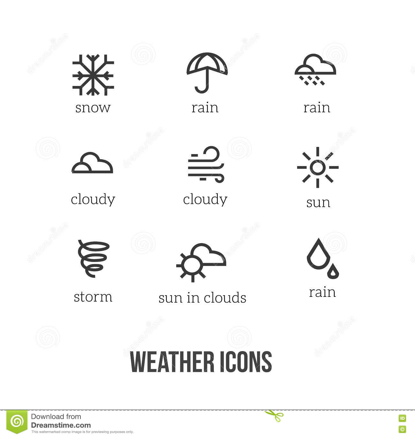 Weerpictogrammen Met Hoofdsymbolen Van Sneeuw Regen Zon
