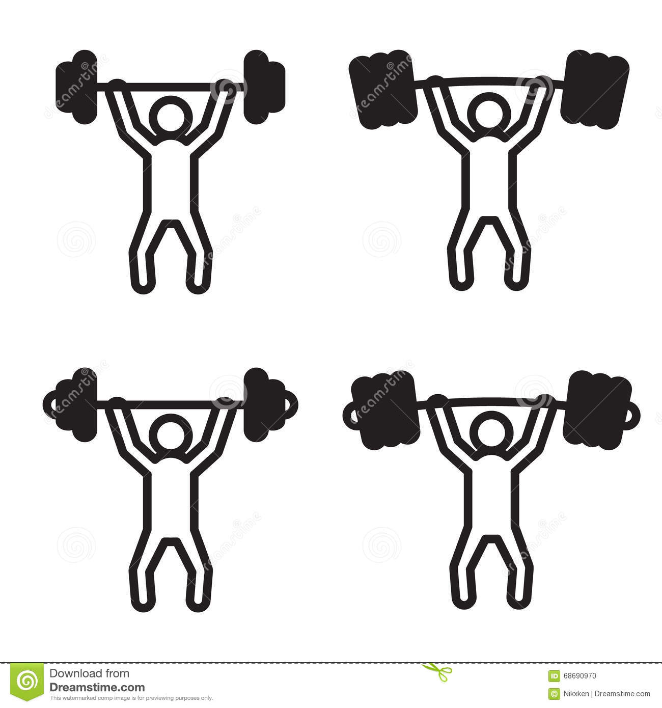 Weightlifter With Barbell Silhouette Vector Illustration