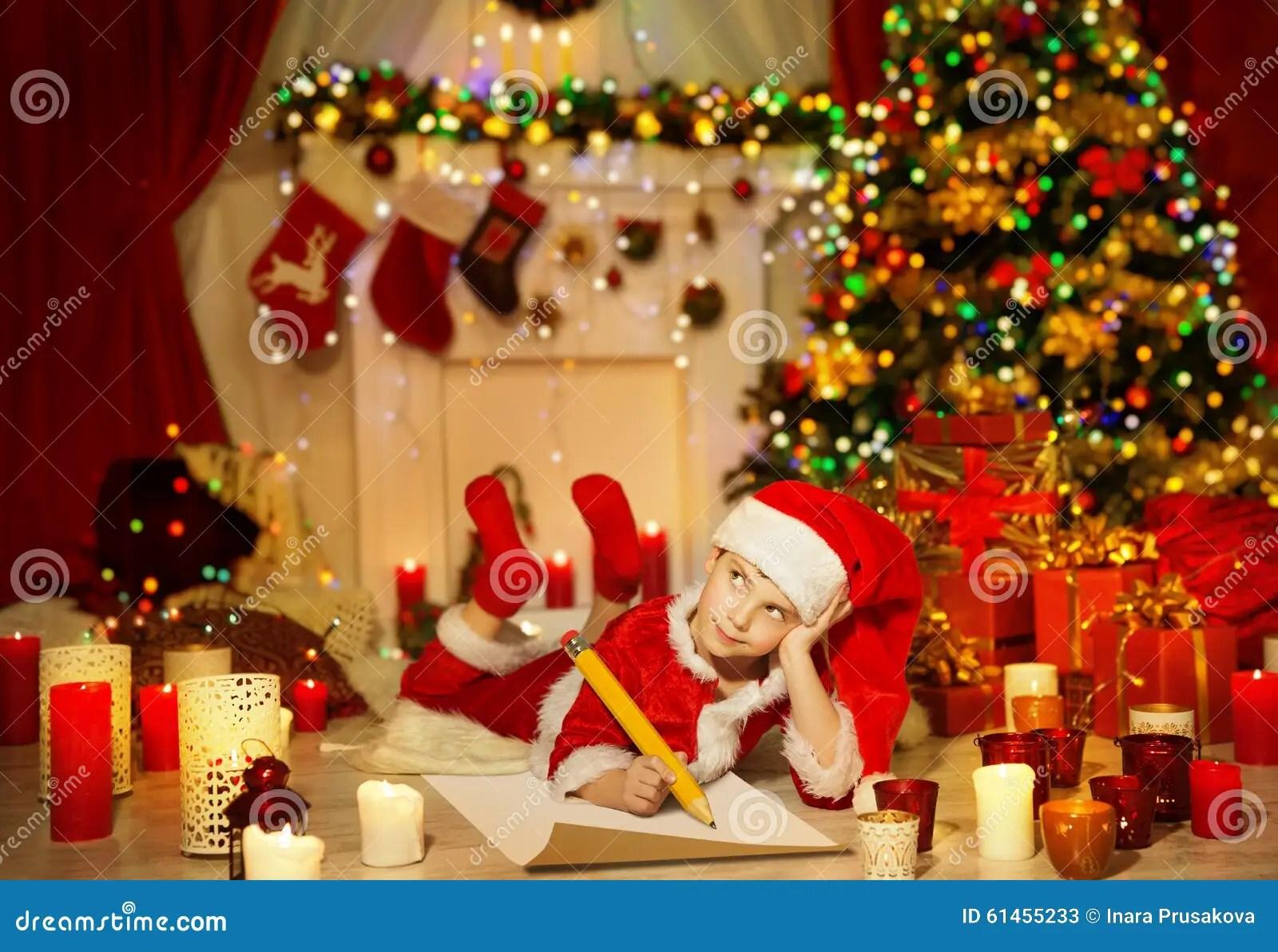 Weihnachtskind Schreiben Wunschliste Kind Santa Hat