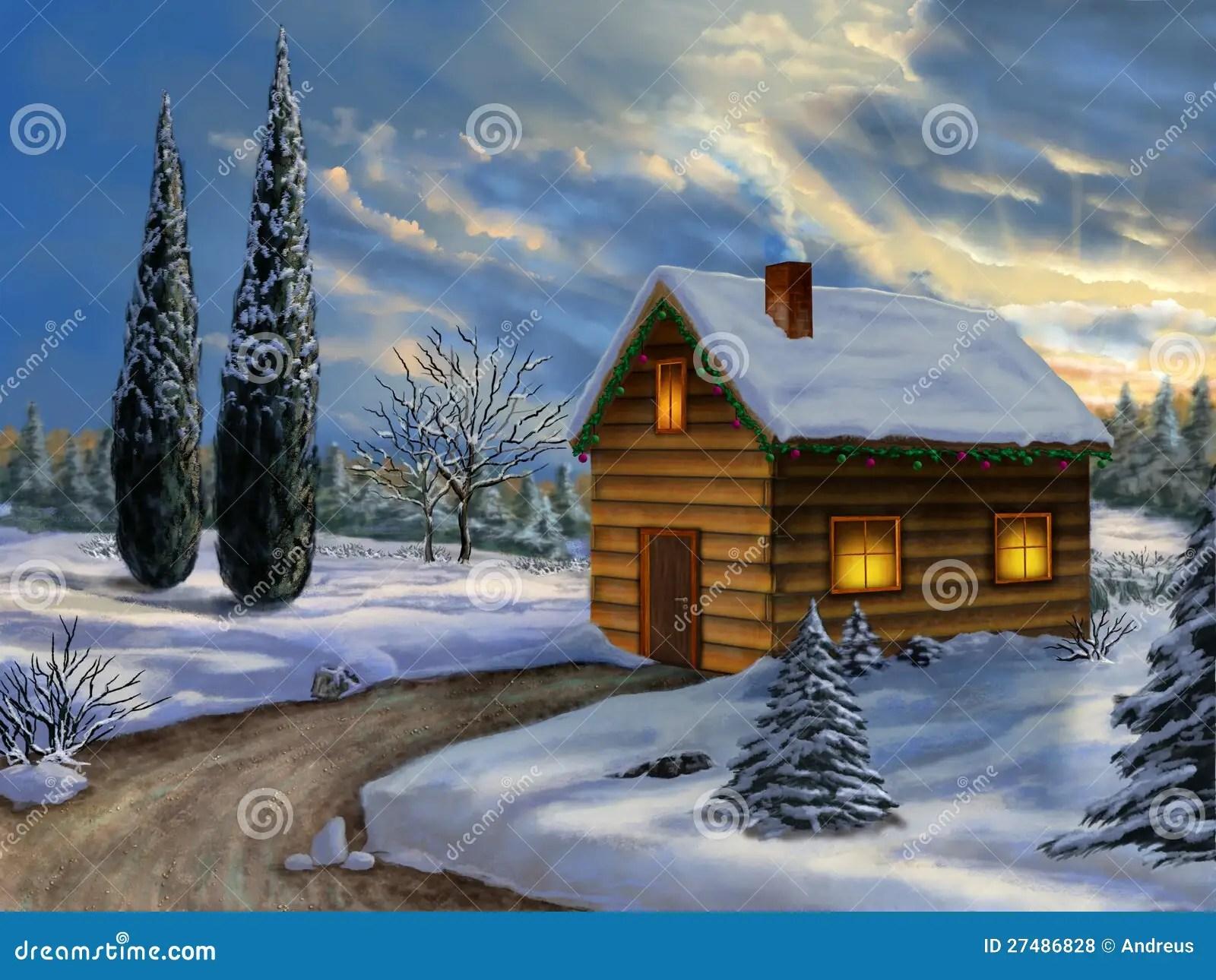 Weihnachtslandschaft Lizenzfreie Stockfotos Bild 27486828