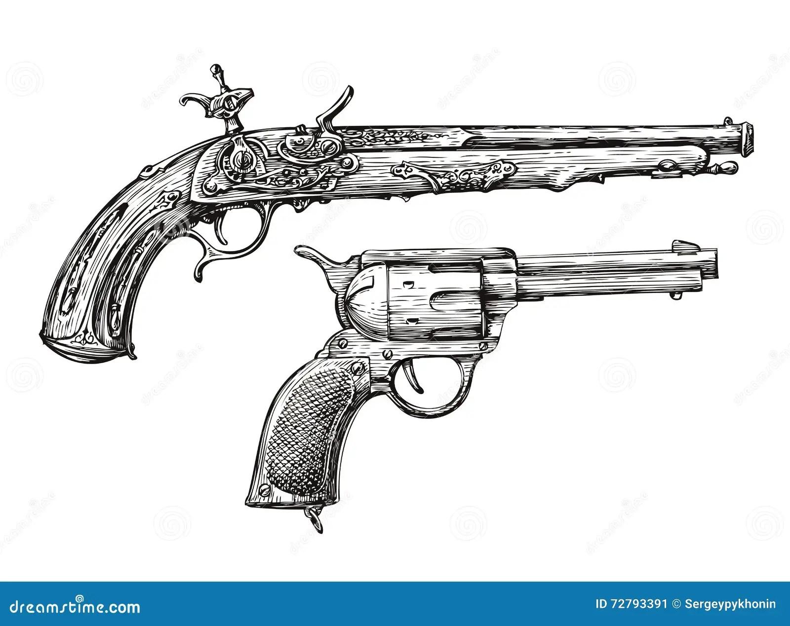 Pistole Skizze Stock Illustrationen Vektors Amp Klipart