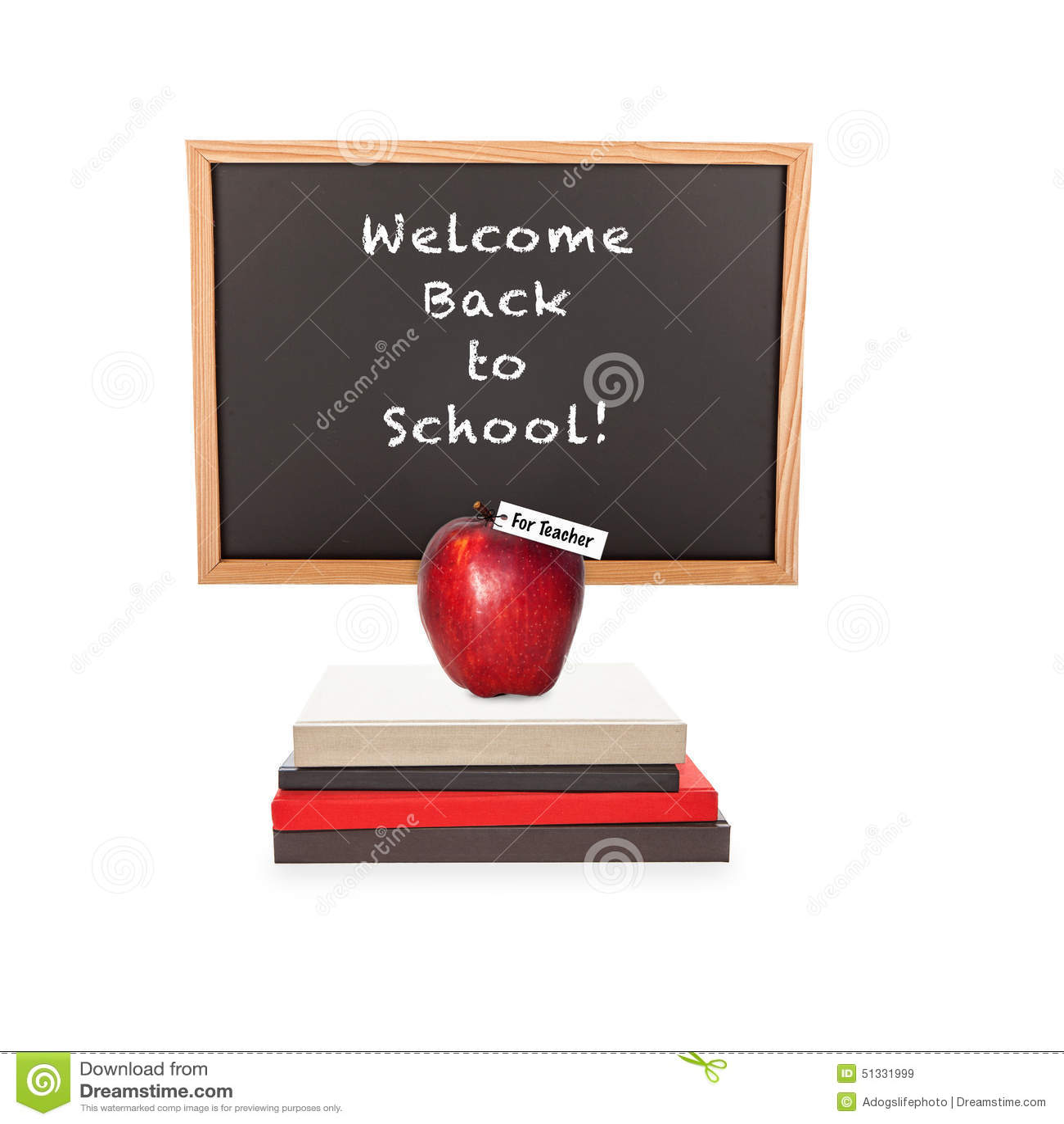 Welcome Back To School Chalkboard Books Apple Stock Photo