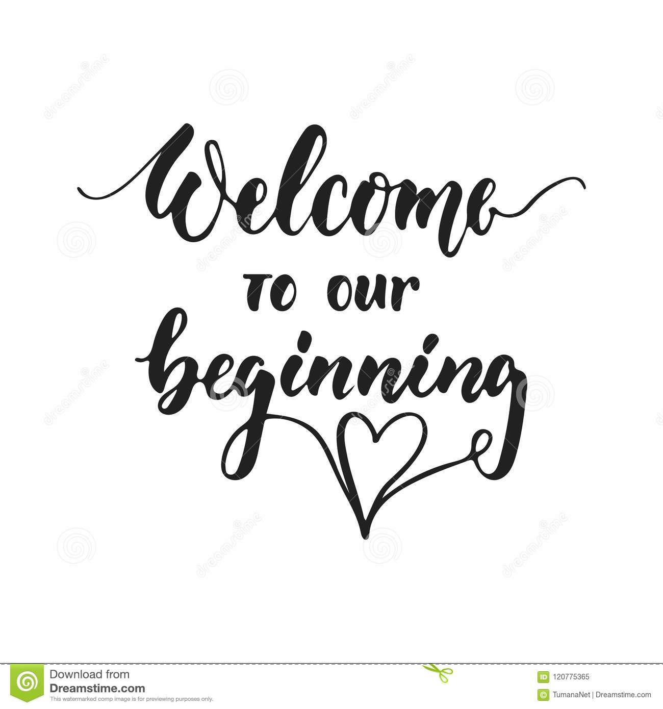 Welcome To Our Wedding Typography Lettering Design Cartoon